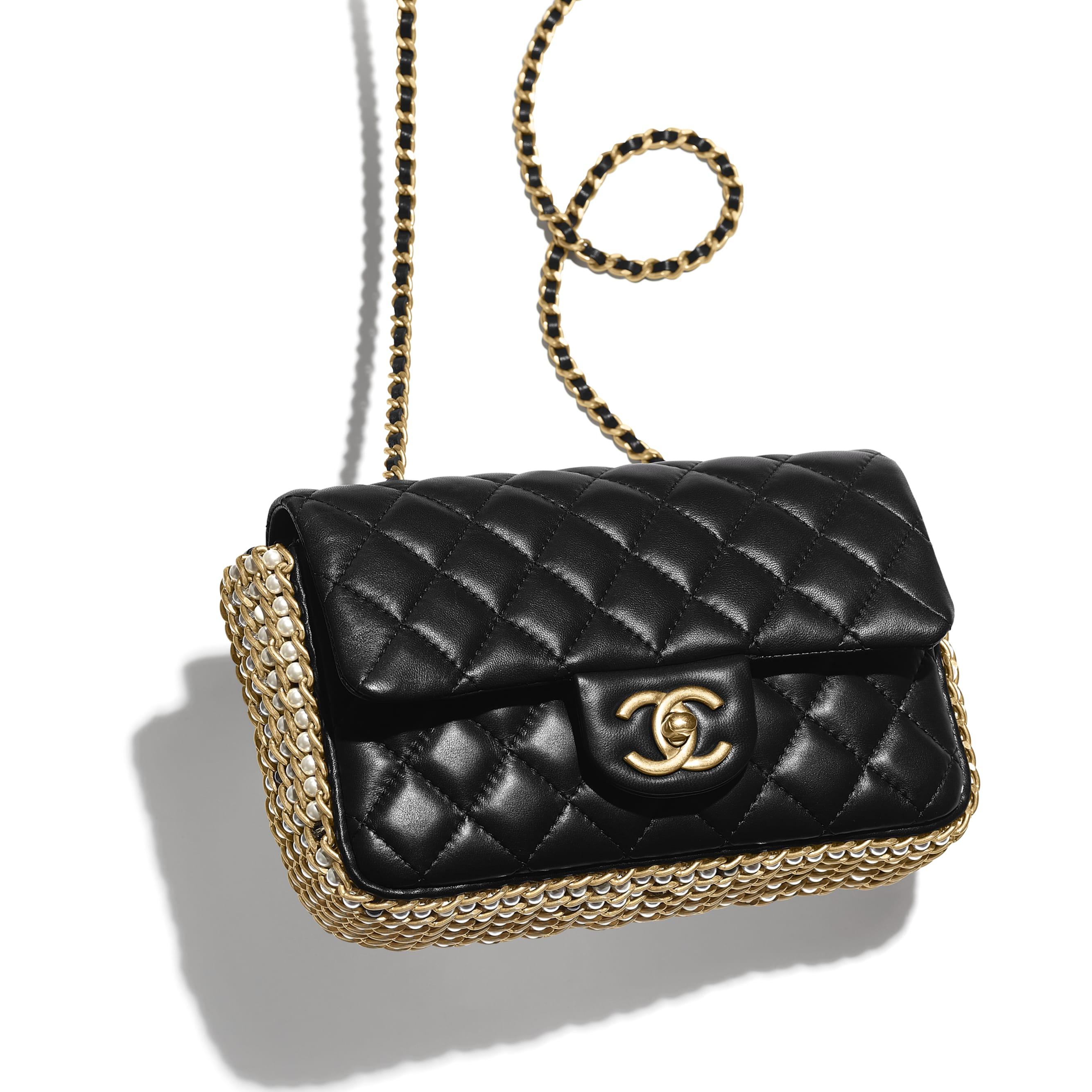 Flap Bag - Black - Lambskin, Imitation Pearls & Gold Metal - Extra view - see standard sized version
