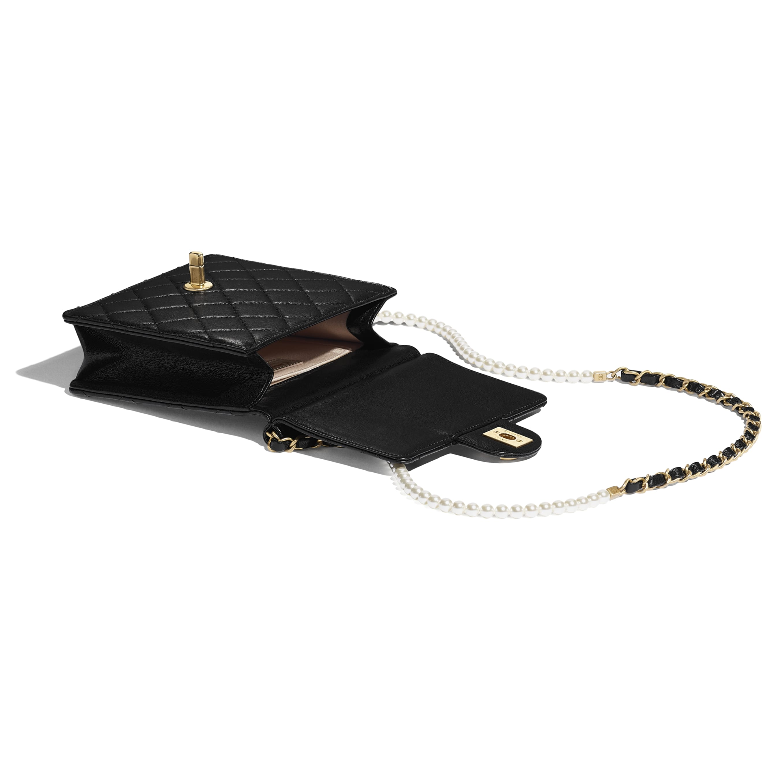 Flap Bag - Black - Lambskin, Imitation Pearls & Gold-Tone Metal - Other view - see standard sized version