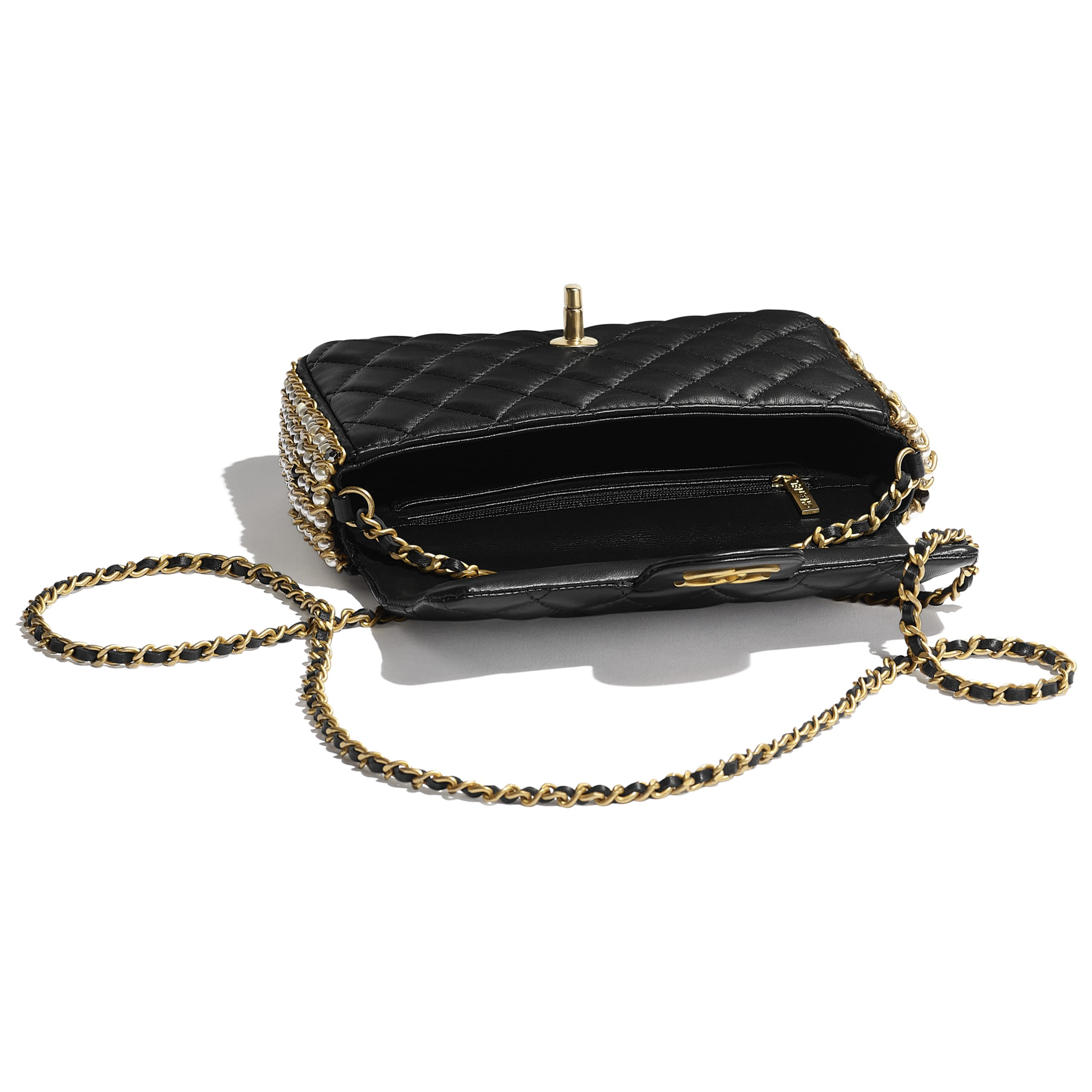 Flap Bag - Black - Lambskin, Imitation Pearls & Gold Metal - Other view - see standard sized version