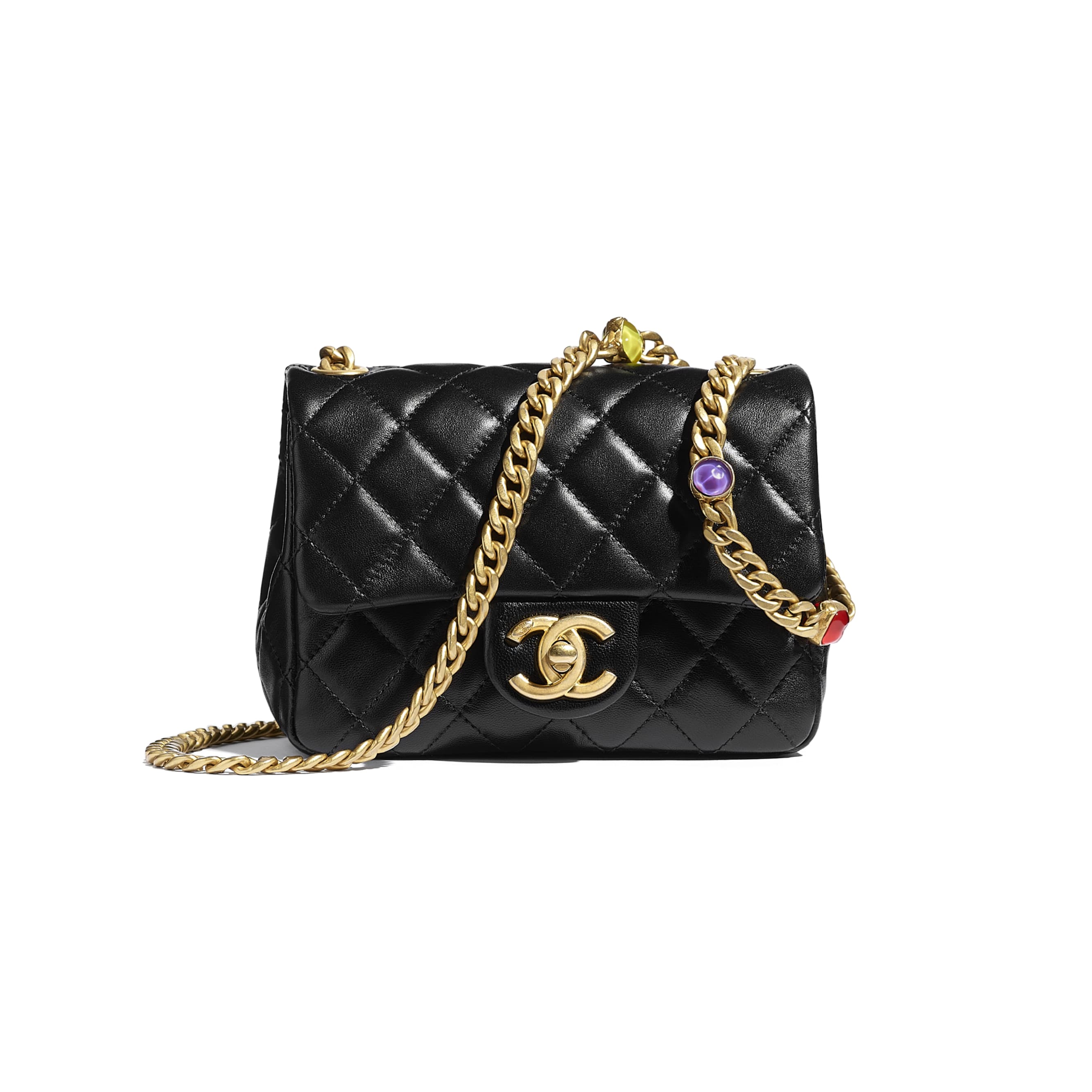 Flap Bag - Black - Lambskin, Resin & Gold-Tone Metal - CHANEL - Default view - see standard sized version