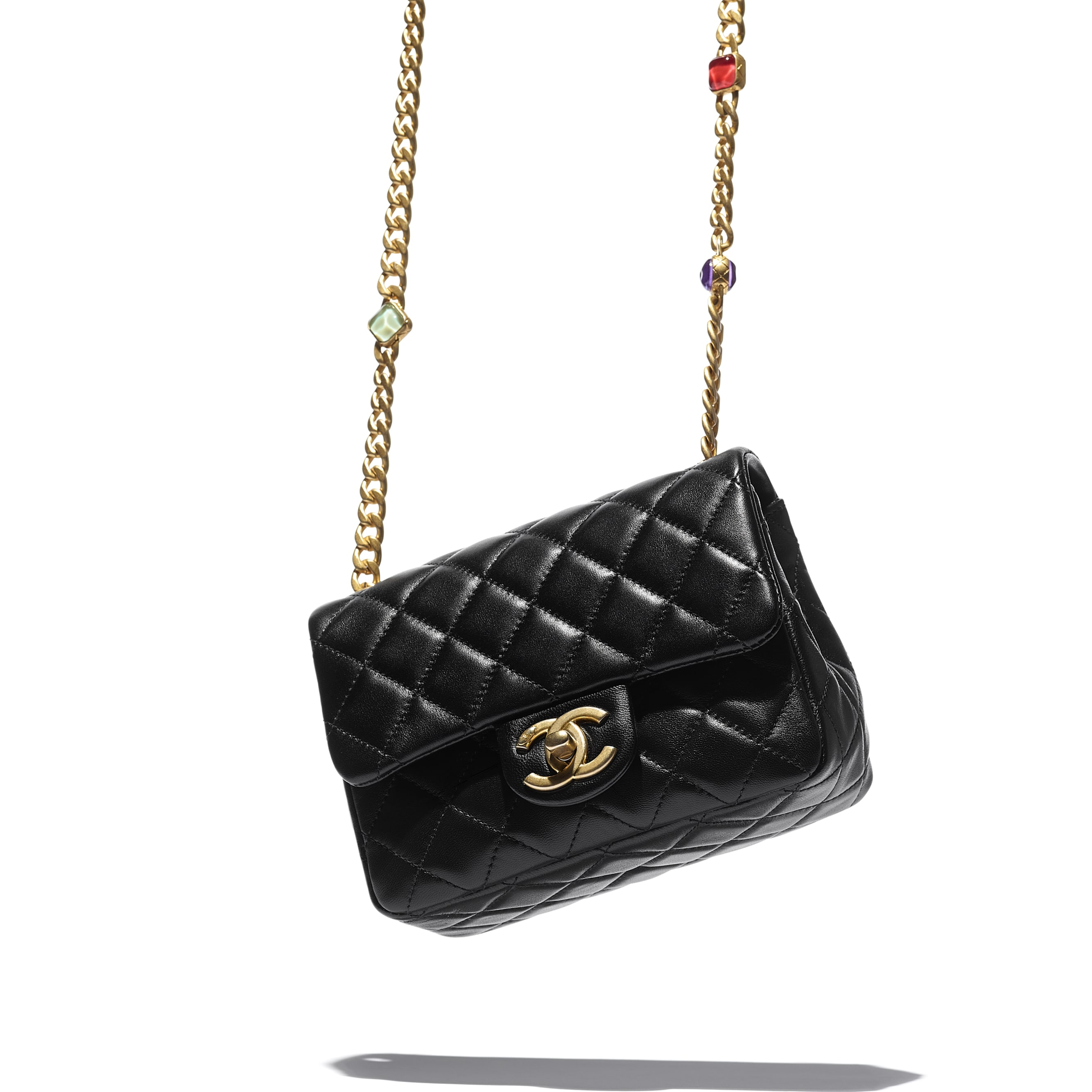 Flap Bag - Black - Lambskin, Resin & Gold-Tone Metal - CHANEL - Extra view - see standard sized version