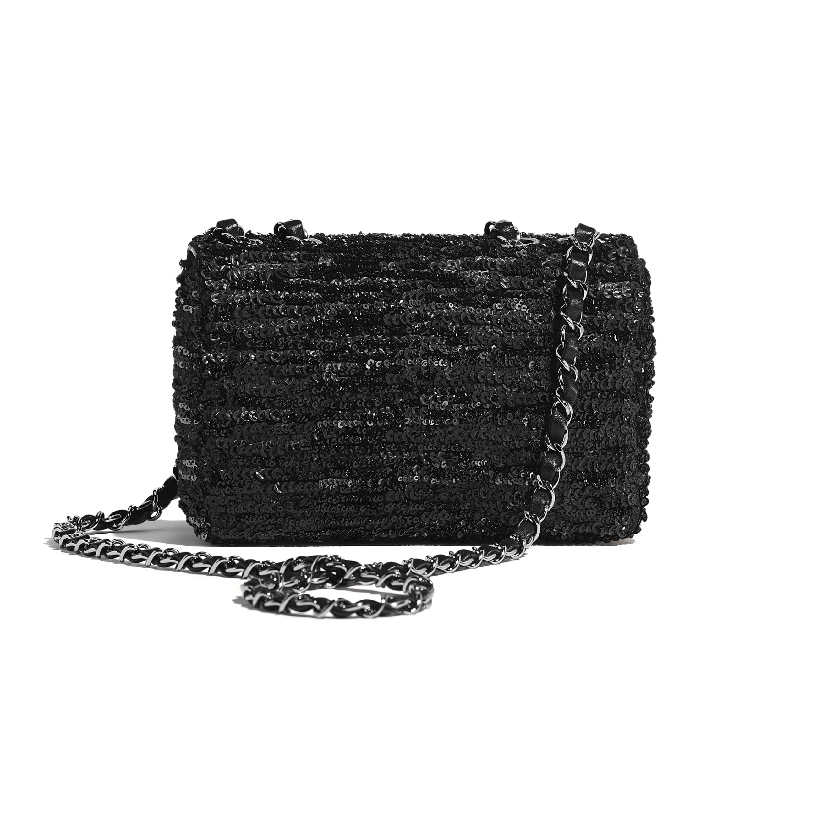 Flap Bag - Black - Sequins & Ruthenium-Finish Metal - Alternative view - see standard sized version
