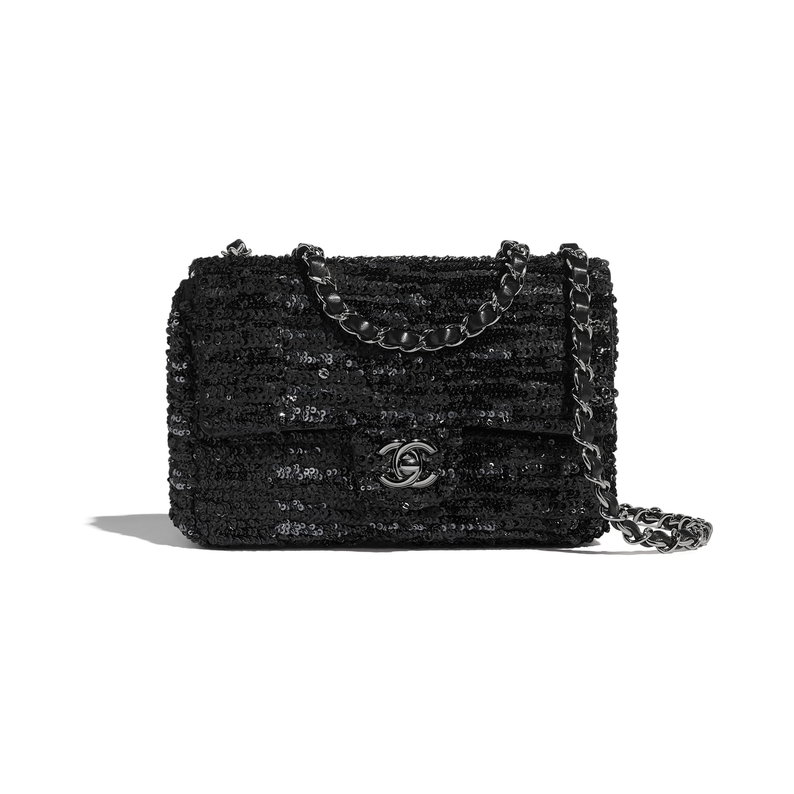 Flap Bag - Black - Sequins & Ruthenium-Finish Metal - CHANEL - Default view - see standard sized version