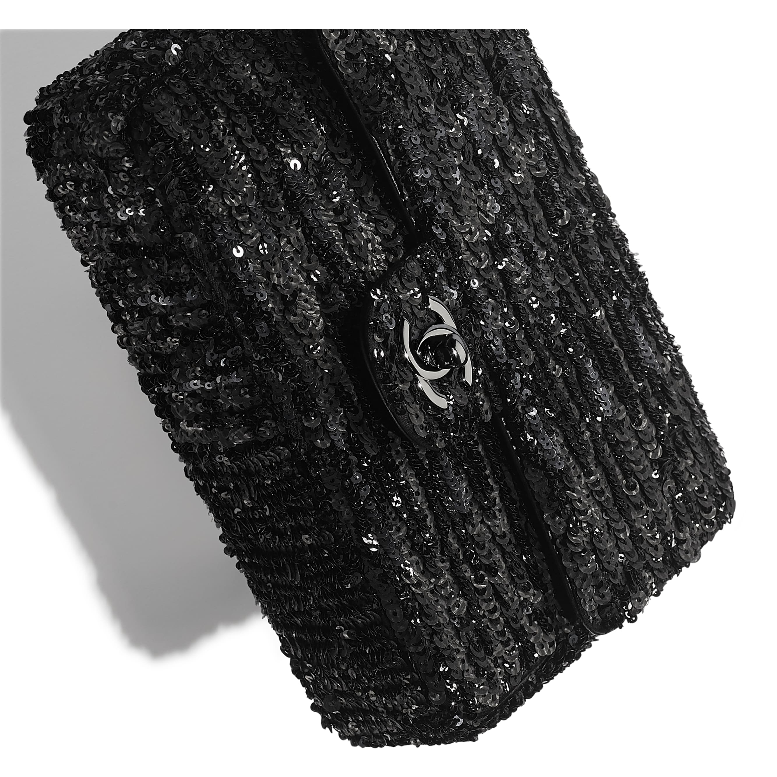 Flap Bag - Black - Sequins & Ruthenium-Finish Metal - Extra view - see standard sized version