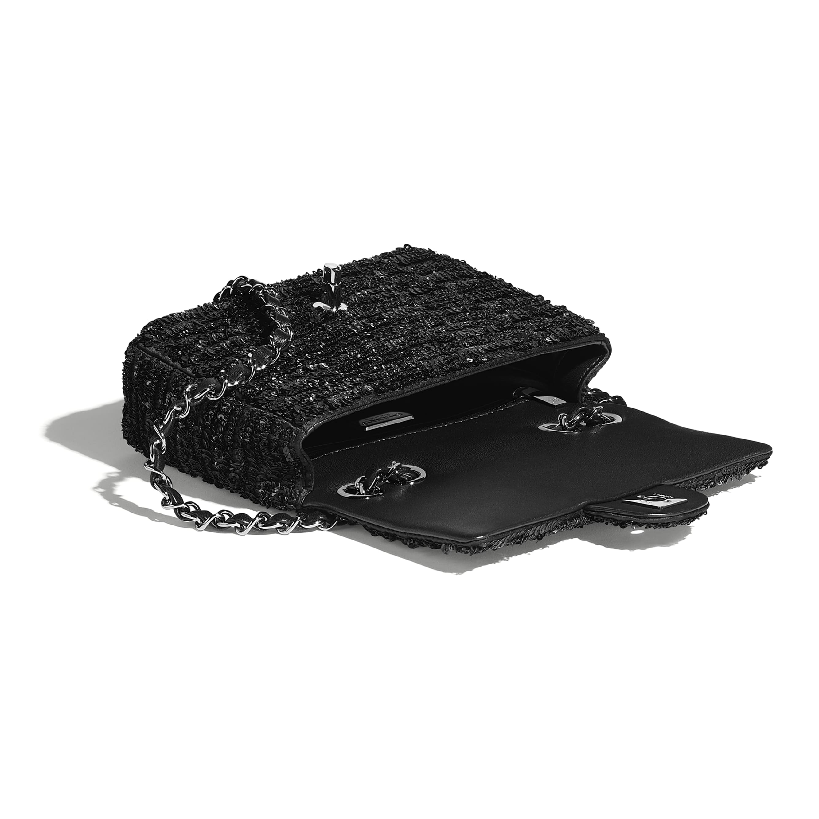 Flap Bag - Black - Sequins & Ruthenium-Finish Metal - CHANEL - Other view - see standard sized version