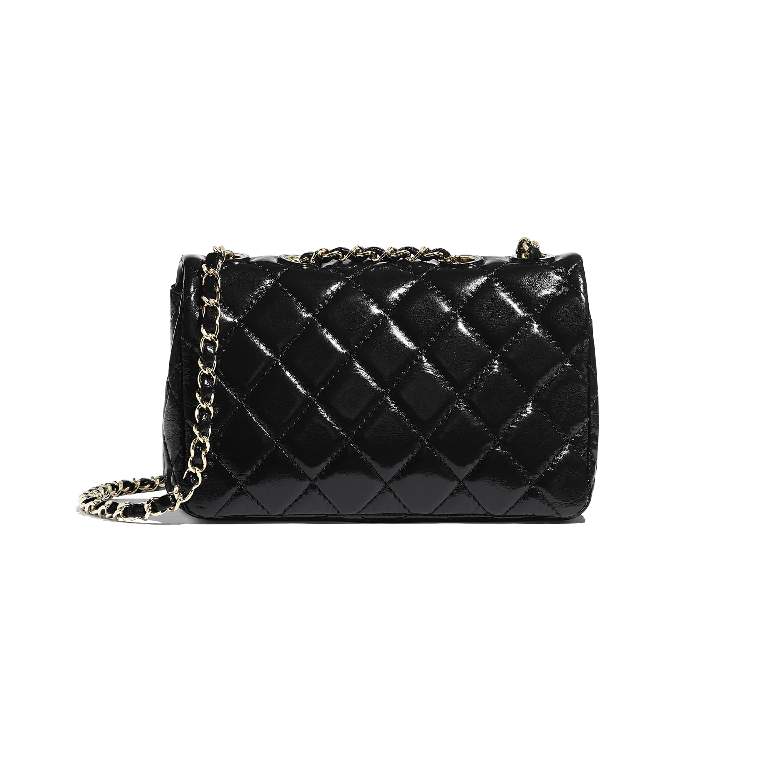 Flap Bag - Black - Shiny Lambskin & Gold-Tone Metal - Alternative view - see standard sized version