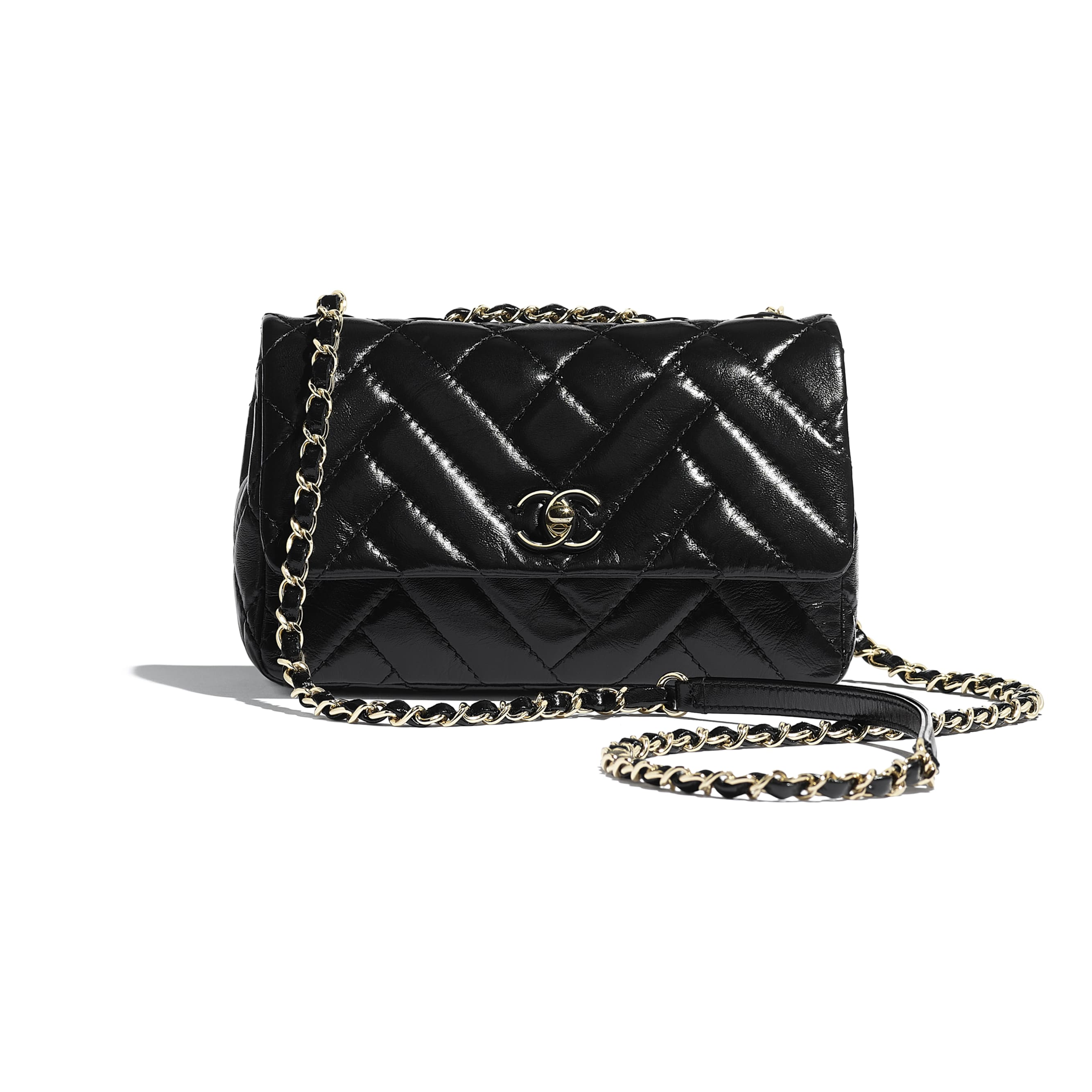 Flap Bag - Black - Shiny Lambskin & Gold-Tone Metal - Default view - see standard sized version