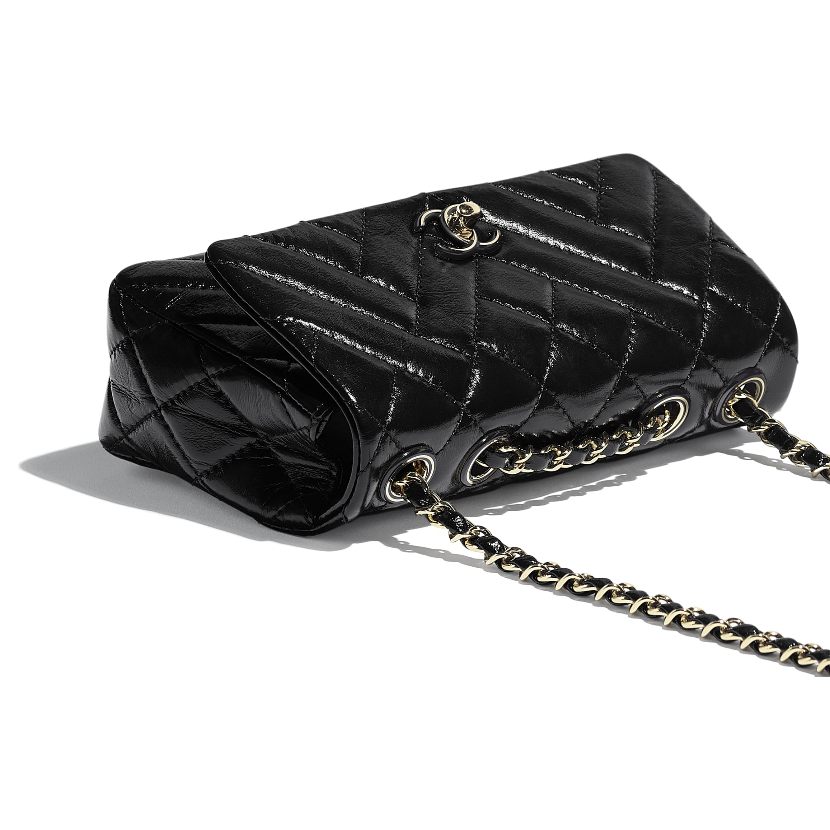 Flap Bag - Black - Shiny Lambskin & Gold-Tone Metal - Extra view - see standard sized version