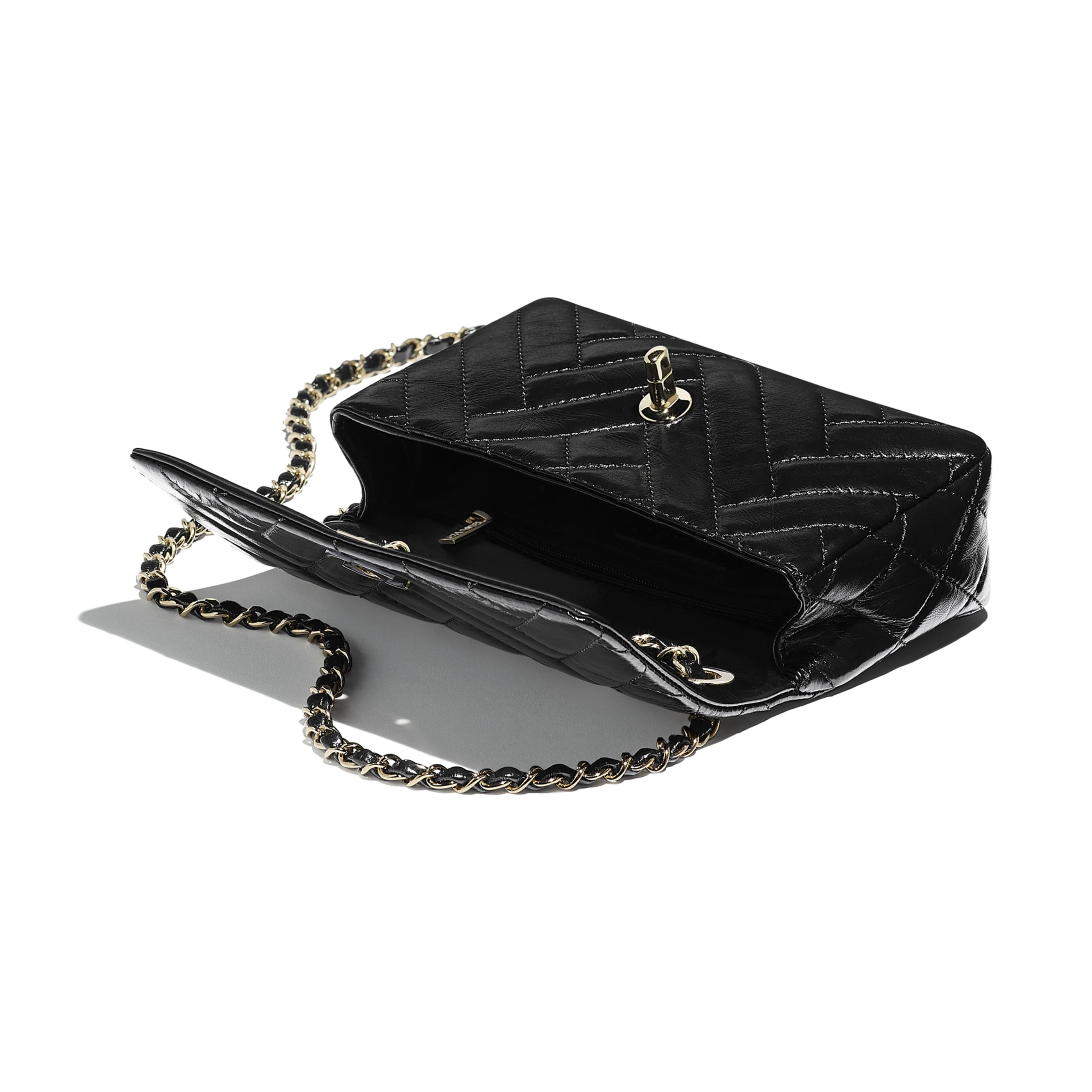 Flap Bag - Black - Shiny Lambskin & Gold-Tone Metal - Other view - see standard sized version