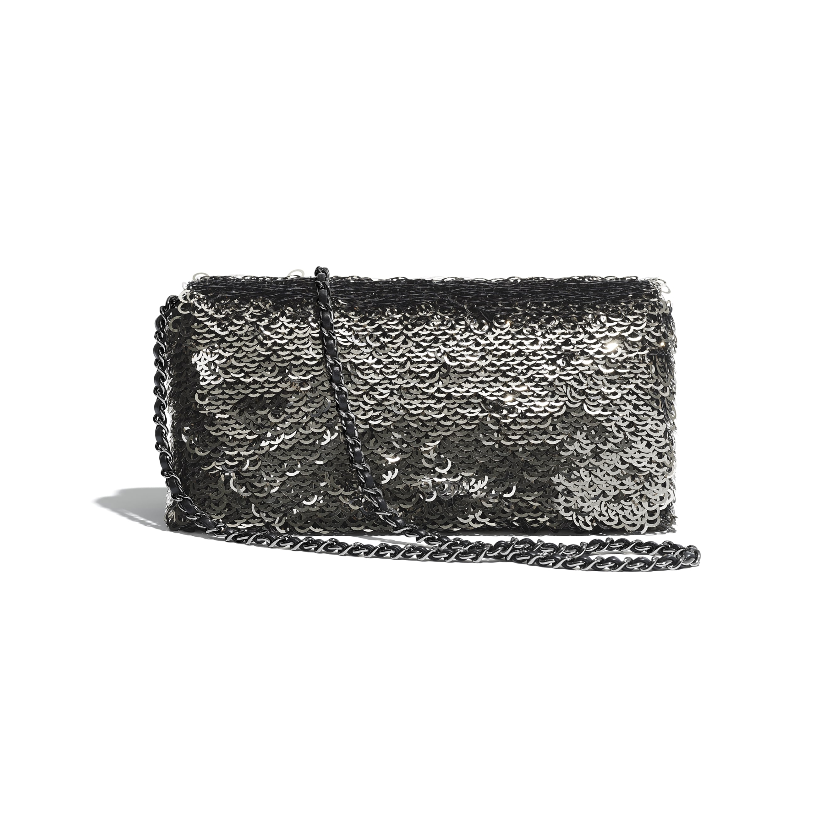 Flap Bag - Black, Silver & White - Sequins & Ruthenium-Finish Metal - Alternative view - see standard sized version