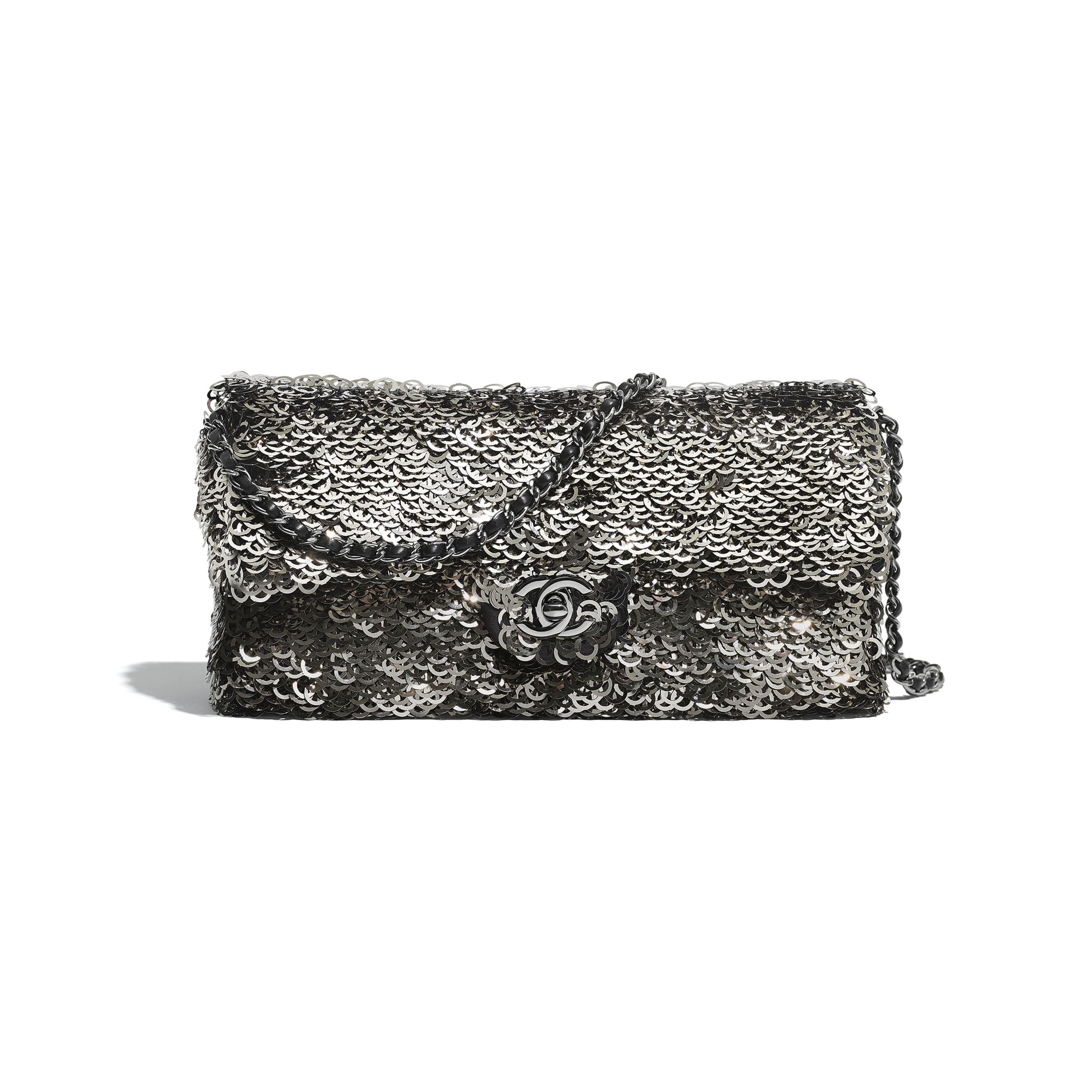 Flap Bag - Black, Silver & White - Sequins & Ruthenium-Finish Metal - Default view - see standard sized version