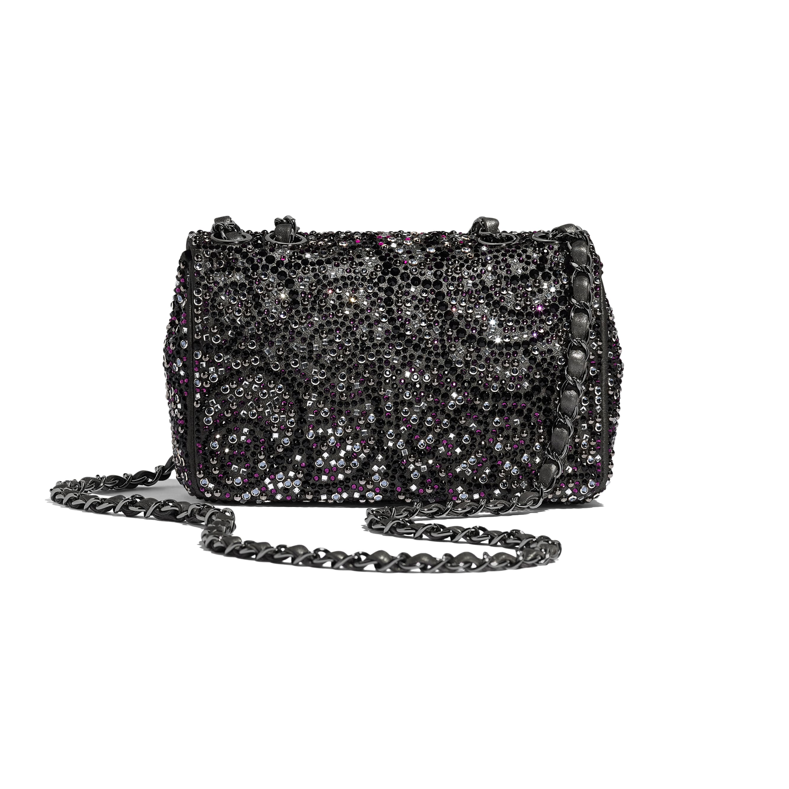 Flap Bag - Black - Strass, Goatskin & Ruthenium-Finish Metal - Alternative view - see standard sized version