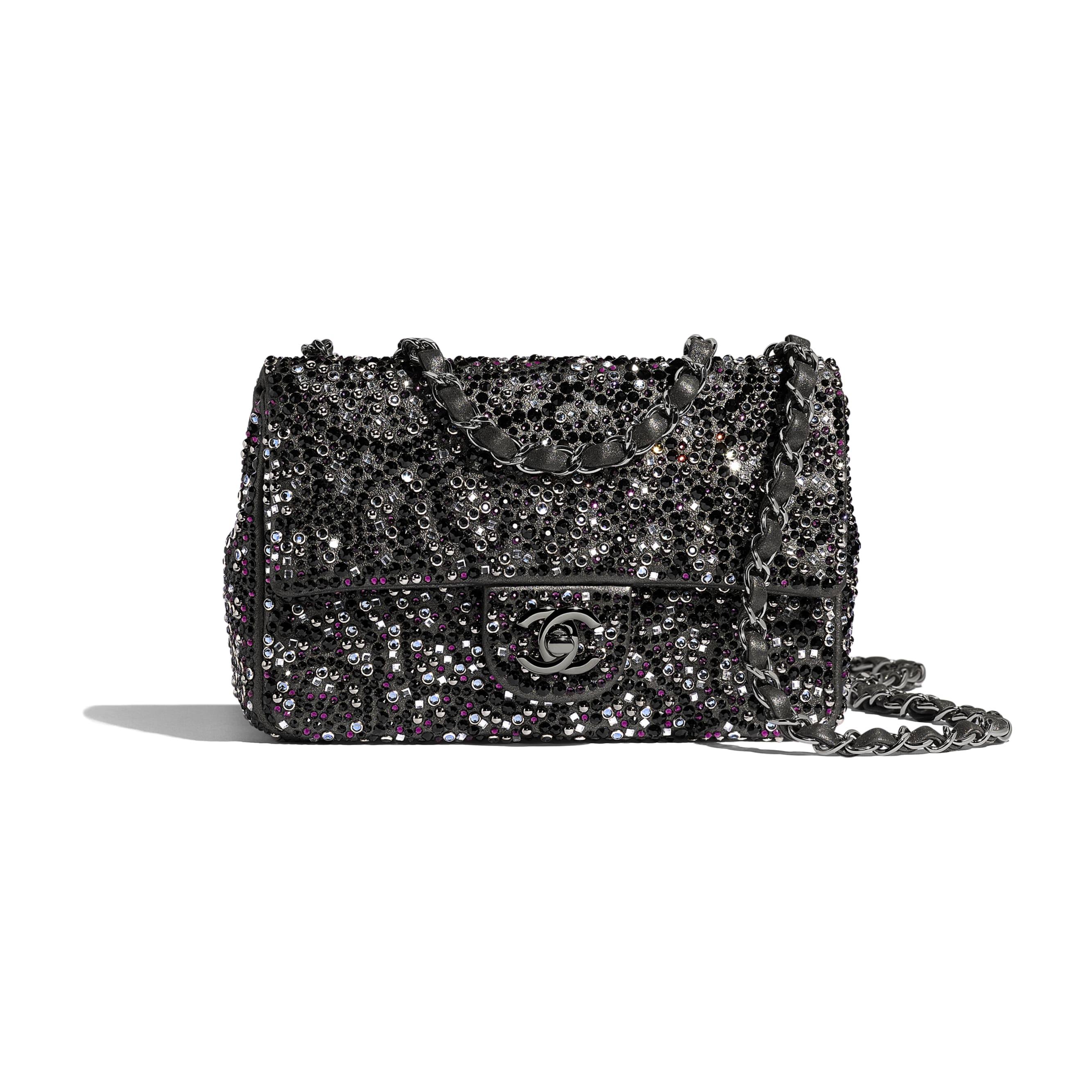Flap Bag - Black - Strass, Goatskin & Ruthenium-Finish Metal - Default view - see standard sized version