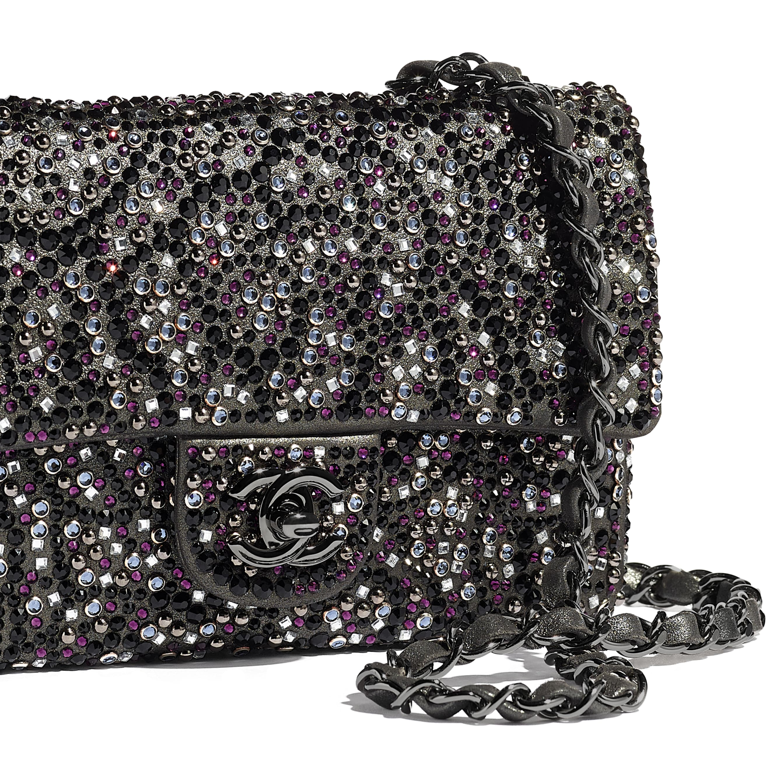 Flap Bag - Black - Strass, Goatskin & Ruthenium-Finish Metal - Extra view - see standard sized version