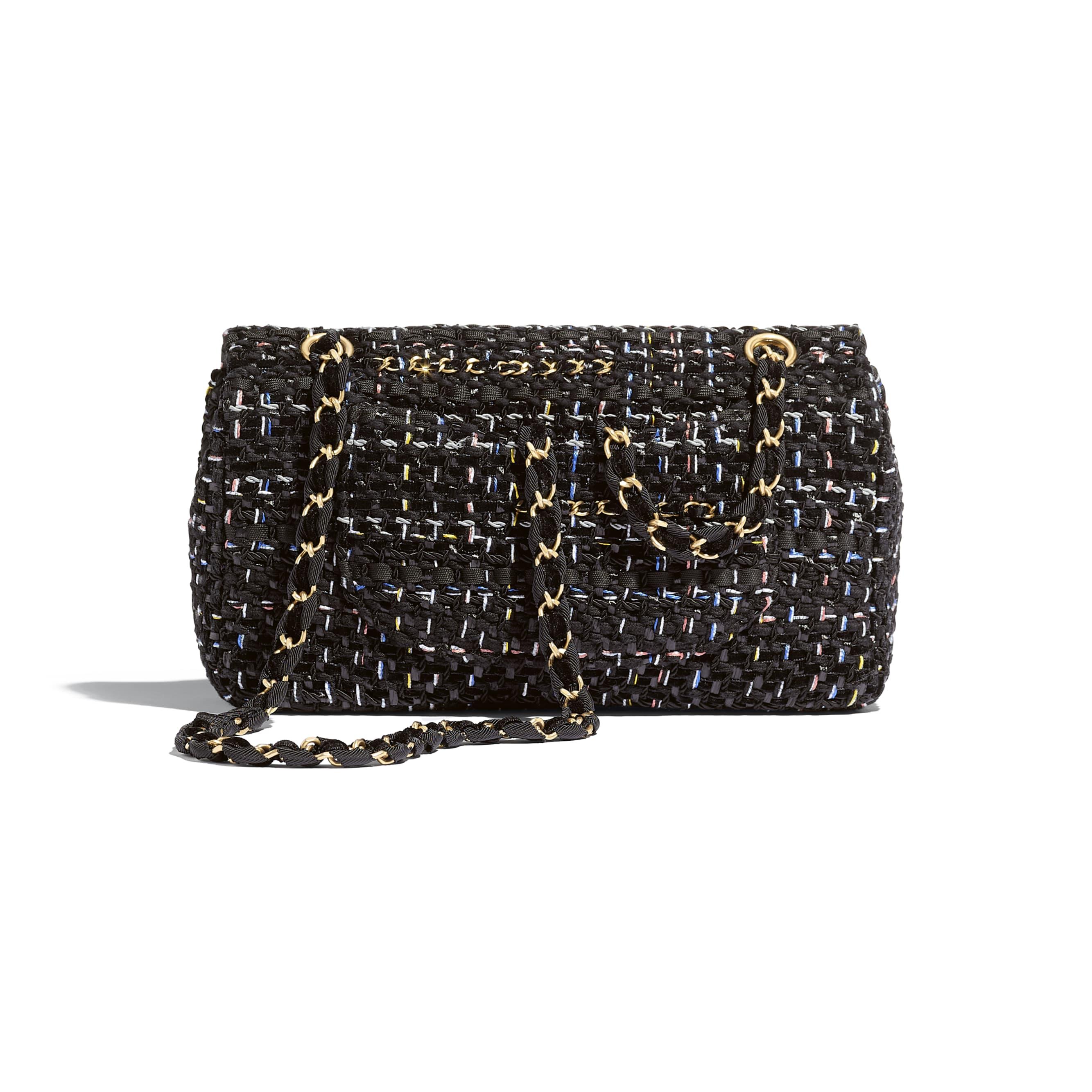 Flap Bag - Black - Tweed & Gold Metal - Alternative view - see standard sized version