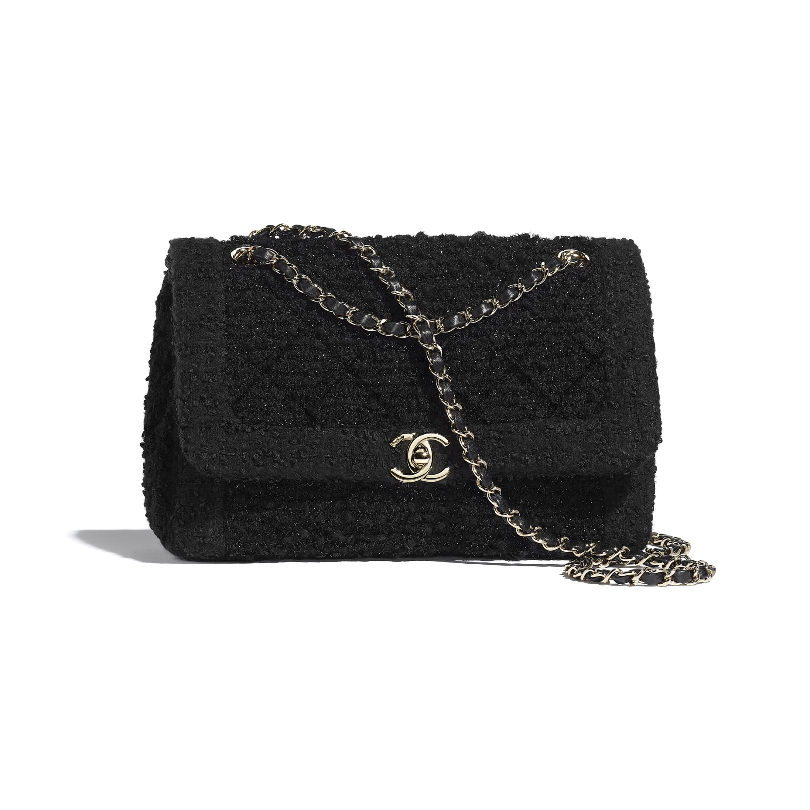 Flap Bag - Black - Tweed & Gold-Tone Metal - CHANEL - Default view - see standard sized version