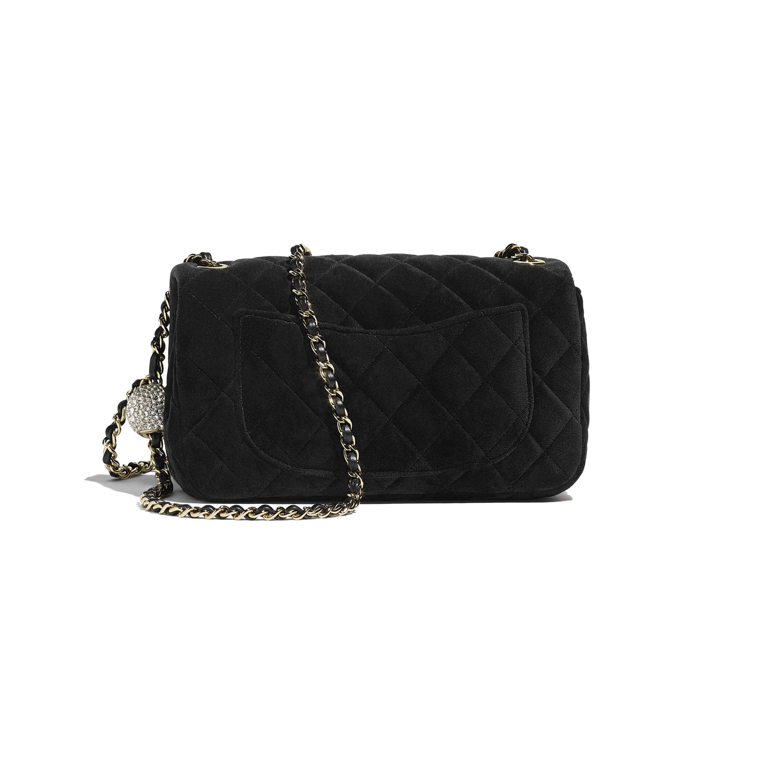 Flap Bag - Black - Velvet, Diamanté & Gold-Tone Metal - CHANEL - Alternative view - see standard sized version