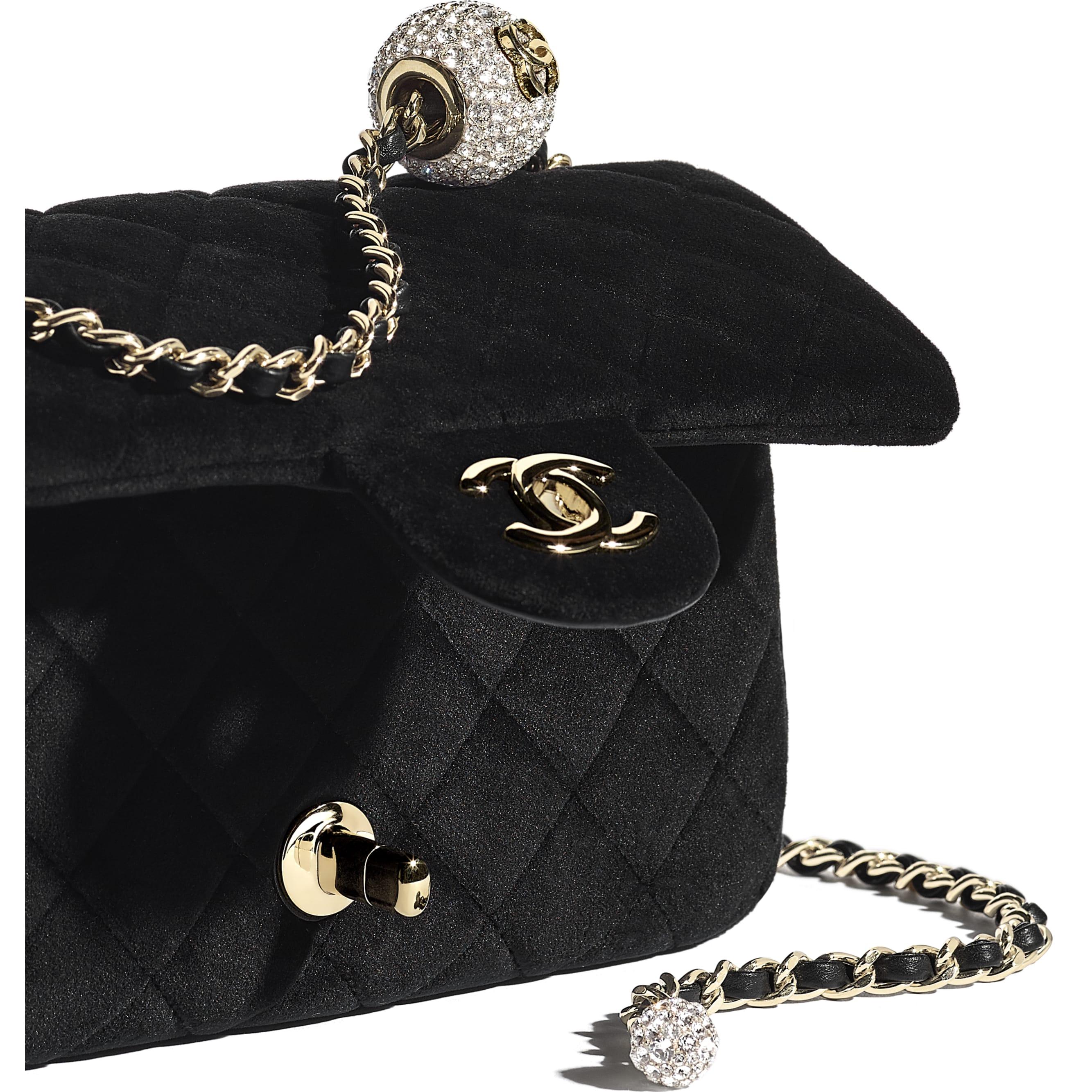 Flap Bag - Black - Velvet, Diamanté & Gold-Tone Metal - CHANEL - Extra view - see standard sized version