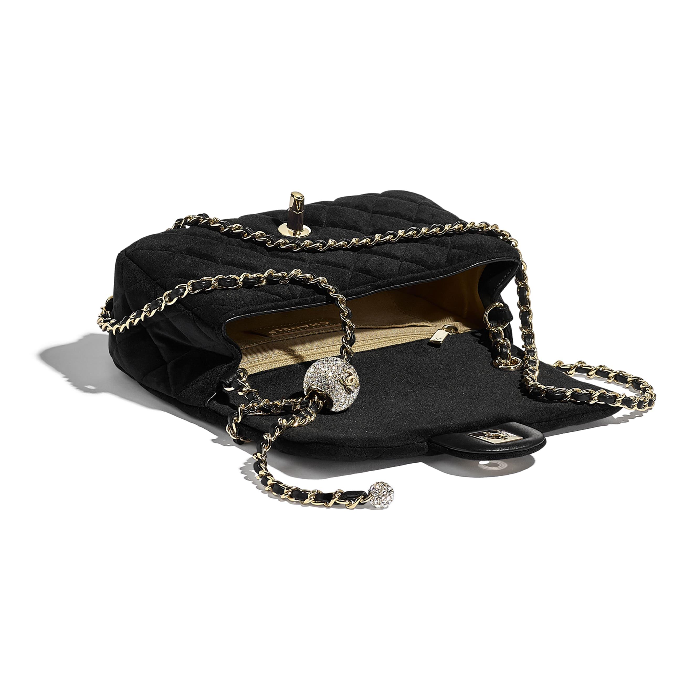 Flap Bag - Black - Velvet, Diamanté & Gold-Tone Metal - CHANEL - Other view - see standard sized version
