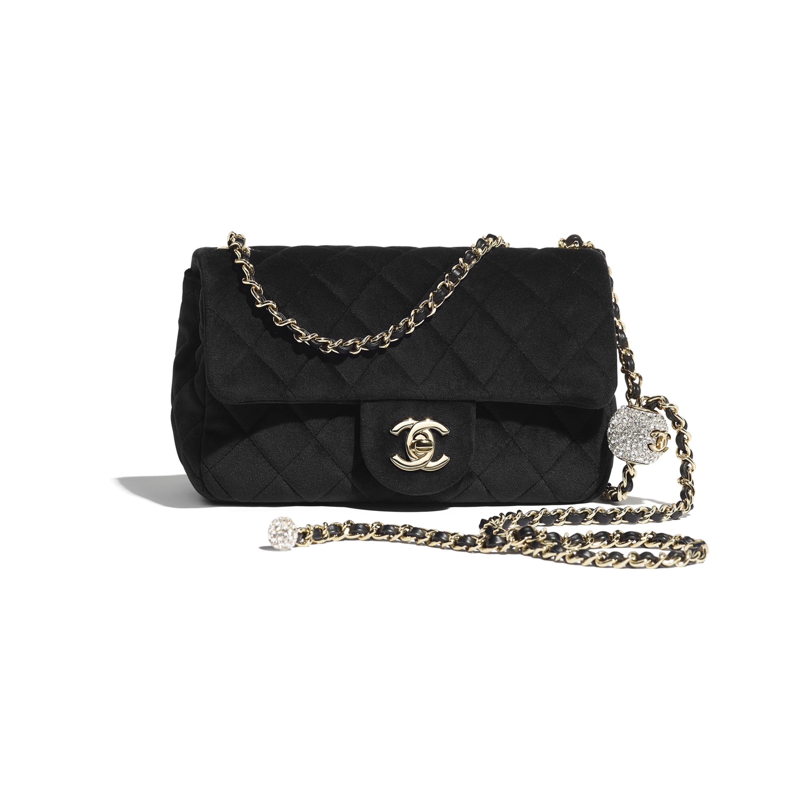 Flap Bag - Black - Velvet, Diamanté & Silver-Tone Metal - CHANEL - Default view - see standard sized version