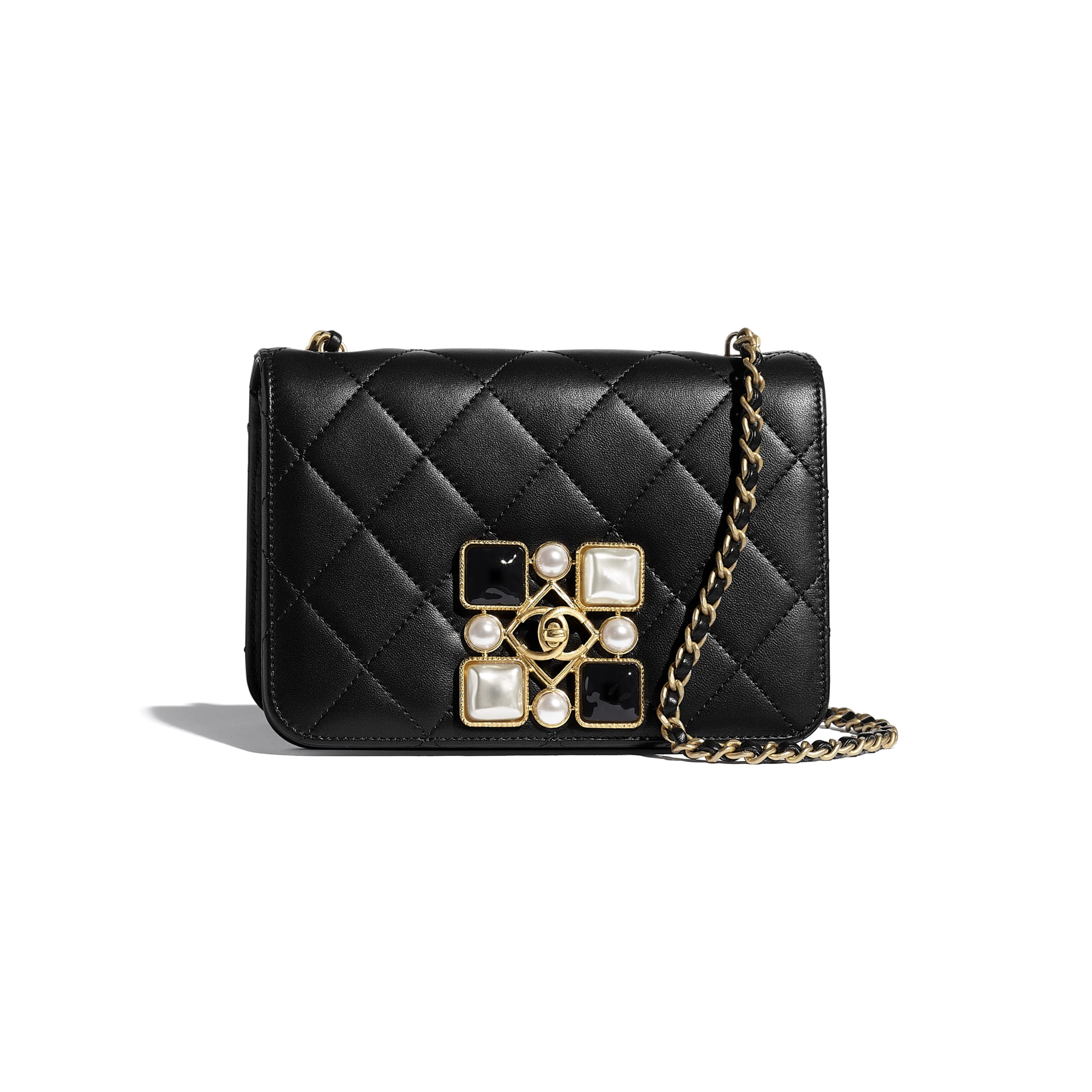 Flap Bag - Black & White - Calfskin, Crystal Pearls, Resin & Gold-Tone Metal - CHANEL - Default view - see standard sized version