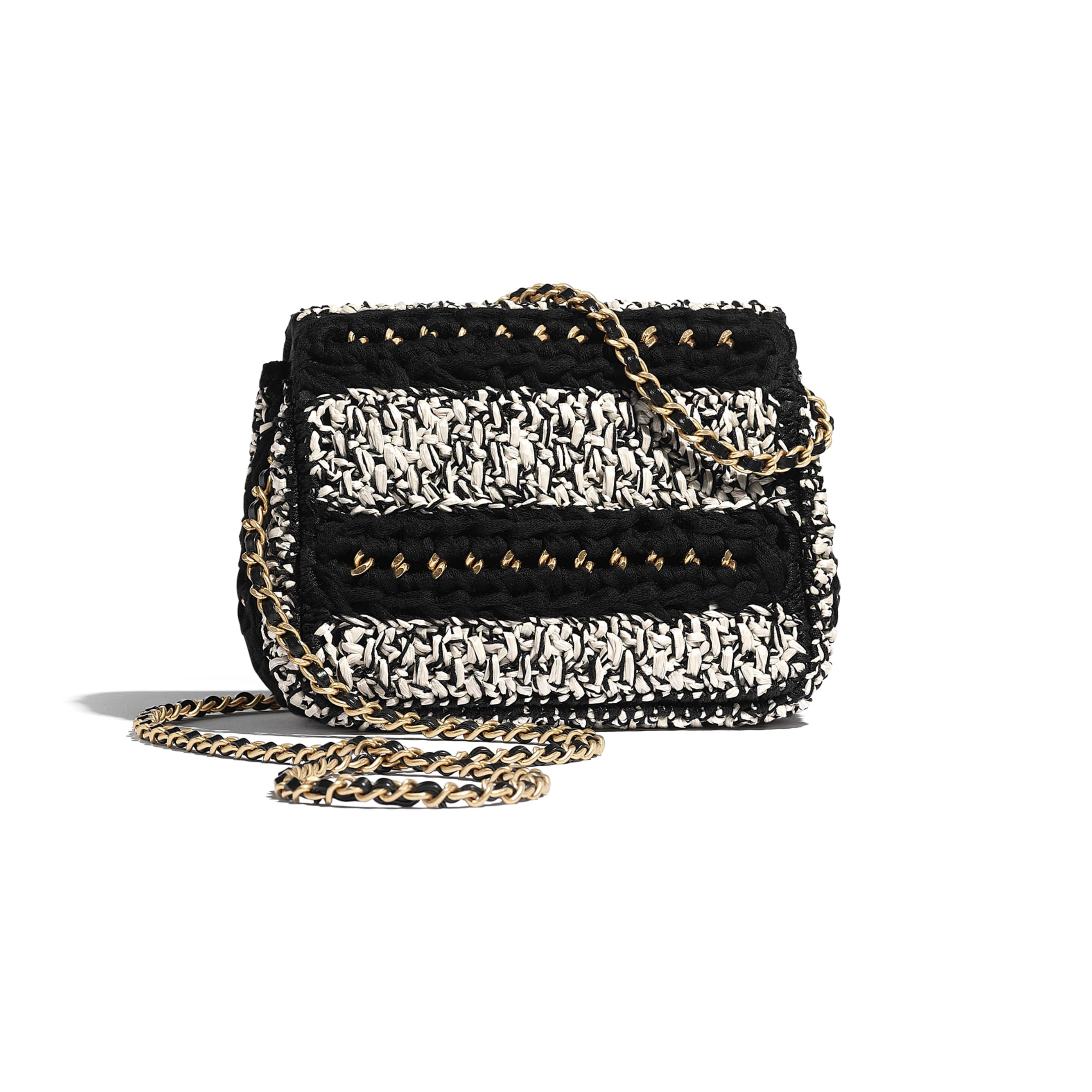 Flap Bag - Black & White - Mixed Fibers, Lambskin & Gold-Tone Metal - Alternative view - see standard sized version