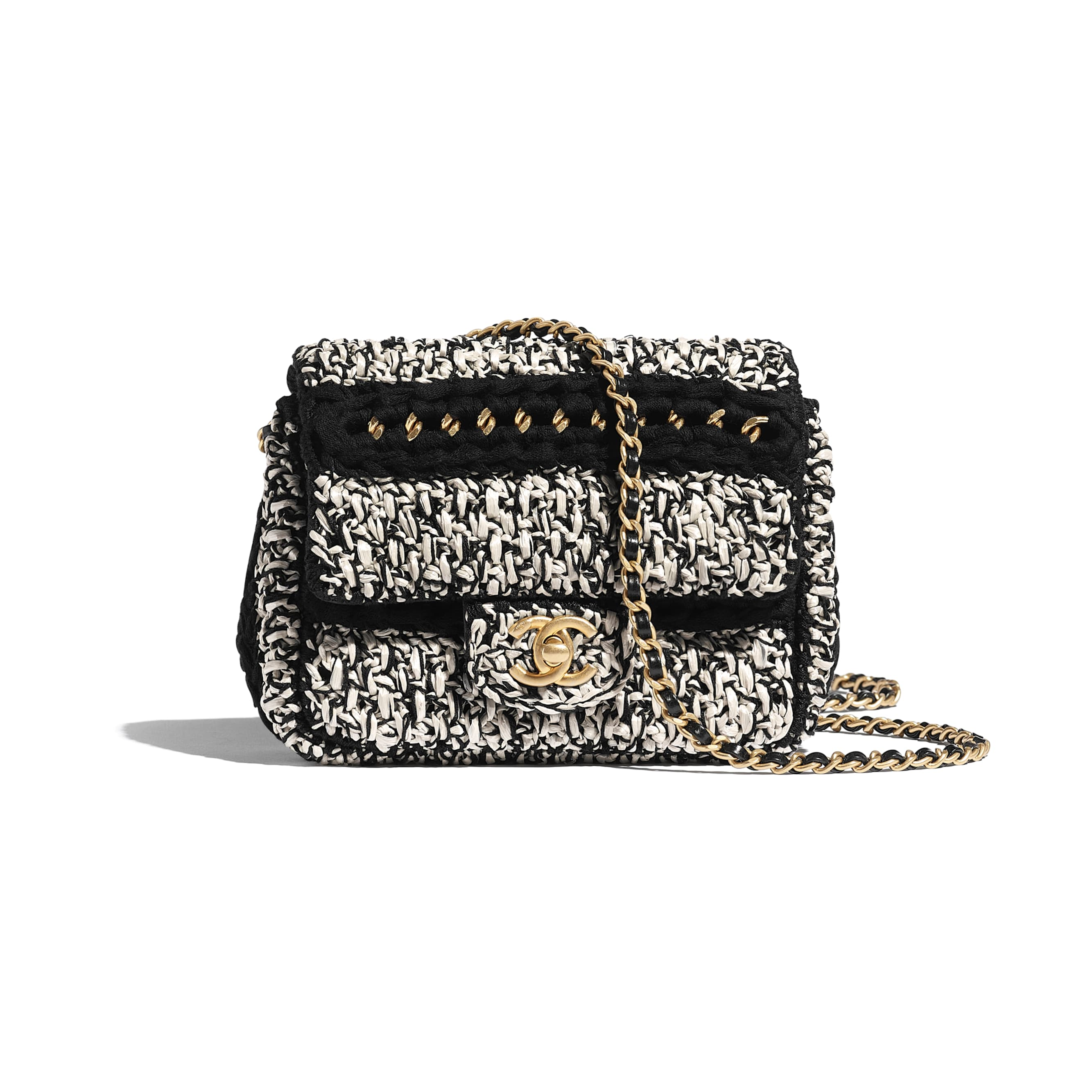 Flap Bag - Black & White - Mixed Fibers, Lambskin & Gold-Tone Metal - Default view - see standard sized version