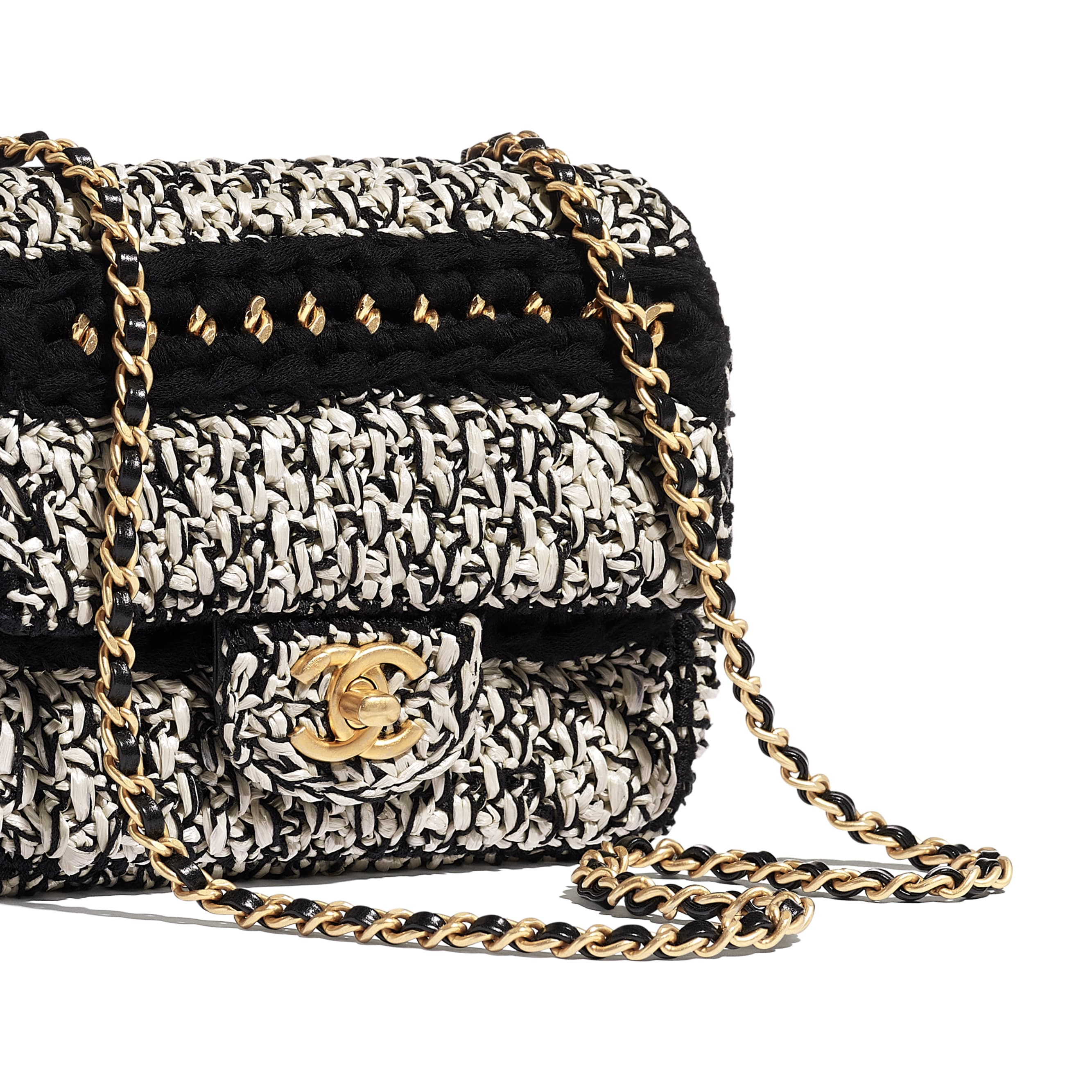Flap Bag - Black & White - Mixed Fibers, Lambskin & Gold-Tone Metal - Extra view - see standard sized version