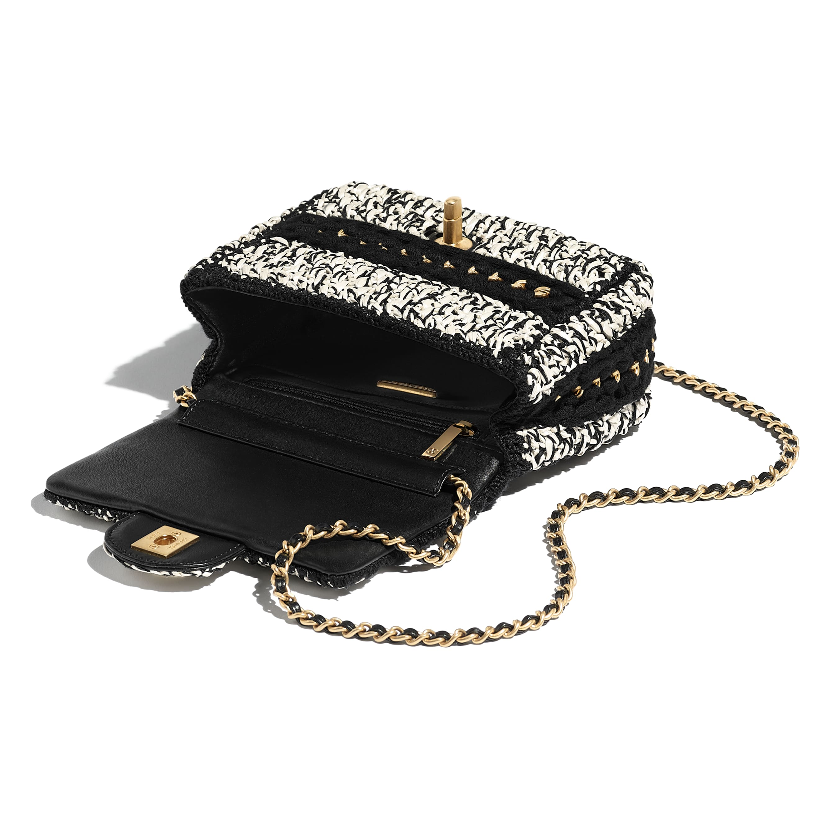 Flap Bag - Black & White - Mixed Fibers, Lambskin & Gold-Tone Metal - Other view - see standard sized version