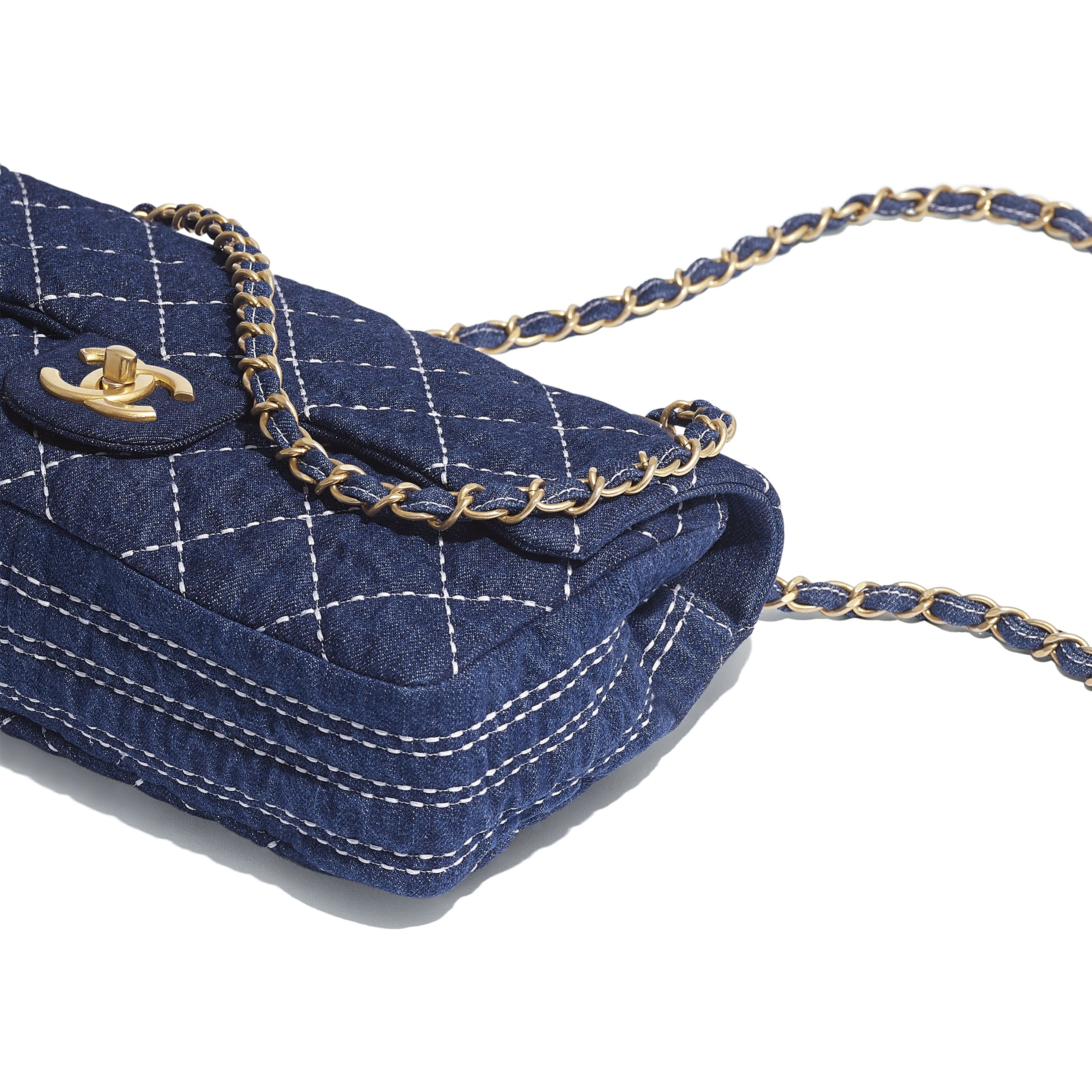 Flap Bag - Blue - Denim & Gold Metal - Extra view - see standard sized version