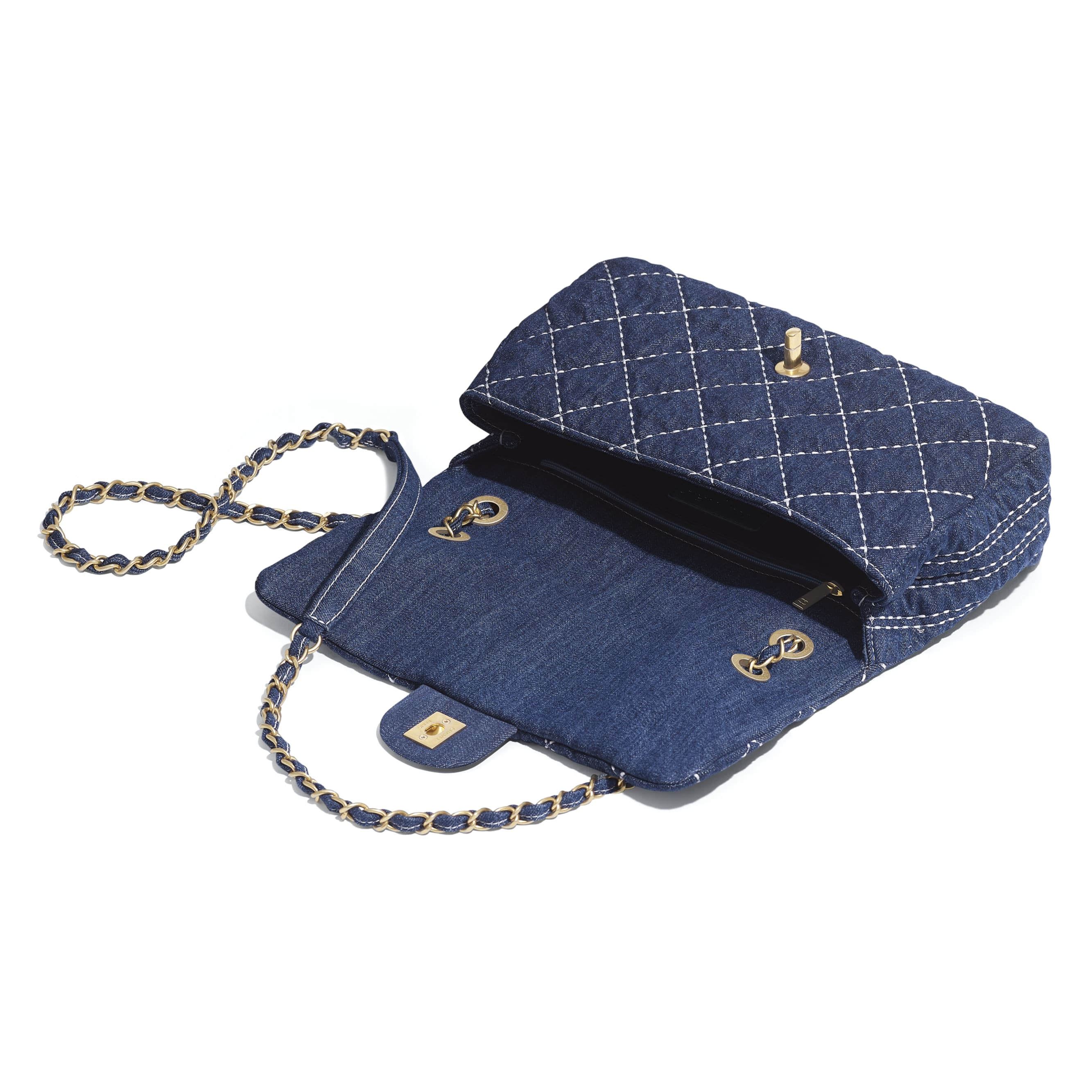 Flap Bag - Blue - Denim & Gold Metal - Other view - see standard sized version