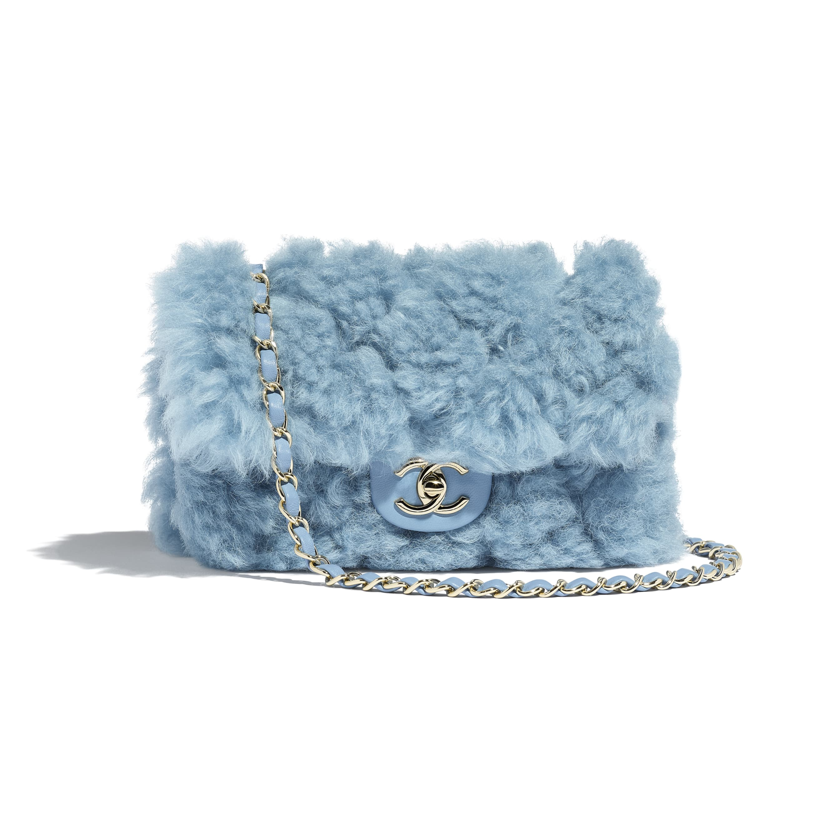 Flap Bag - Blue - Shearling Lambskin, Lambskin &Gold-Tone Metal - Default view - see standard sized version
