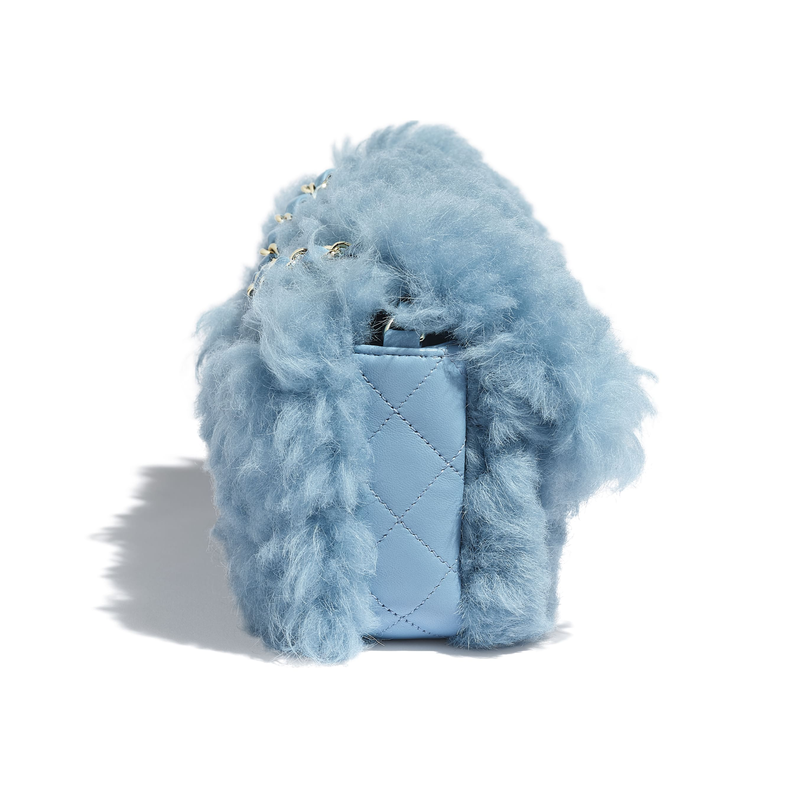Flap Bag - Blue - Shearling Lambskin, Lambskin &Gold-Tone Metal - Extra view - see standard sized version