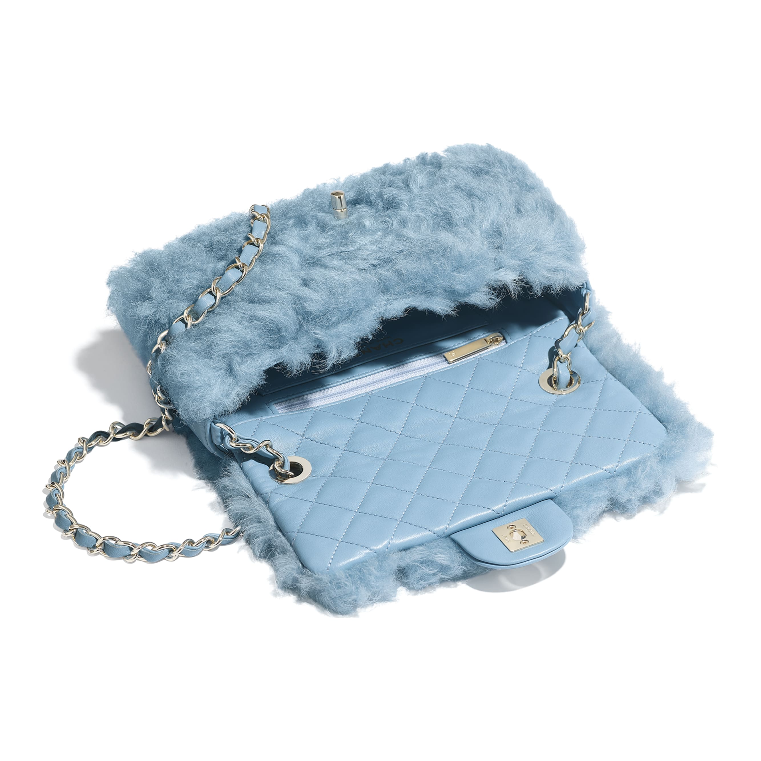 Flap Bag - Blue - Shearling Lambskin, Lambskin &Gold-Tone Metal - Other view - see standard sized version