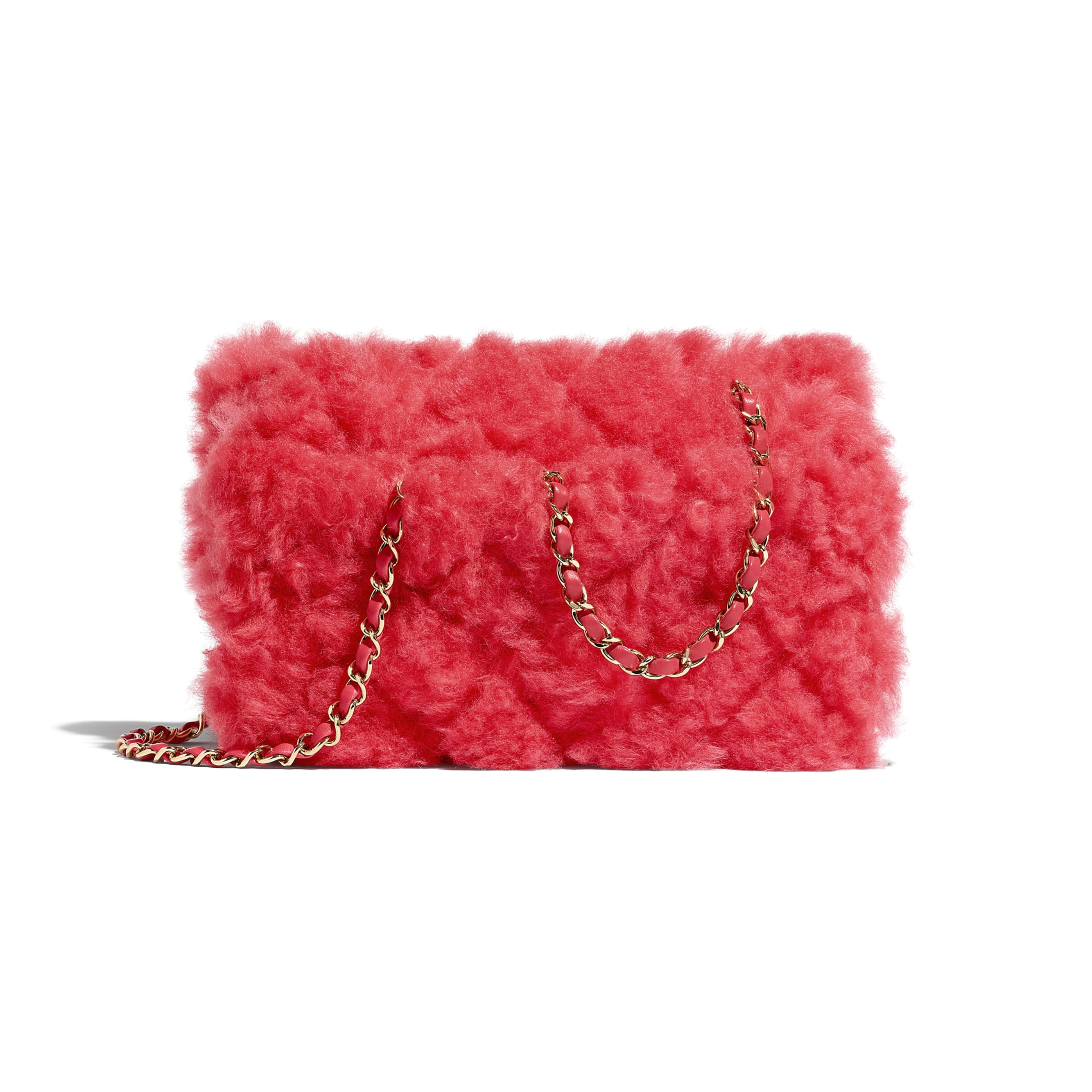 Flap Bag - Bright Red - Shearling Lambskin, Lambskin &Gold-Tone Metal - Alternative view - see standard sized version