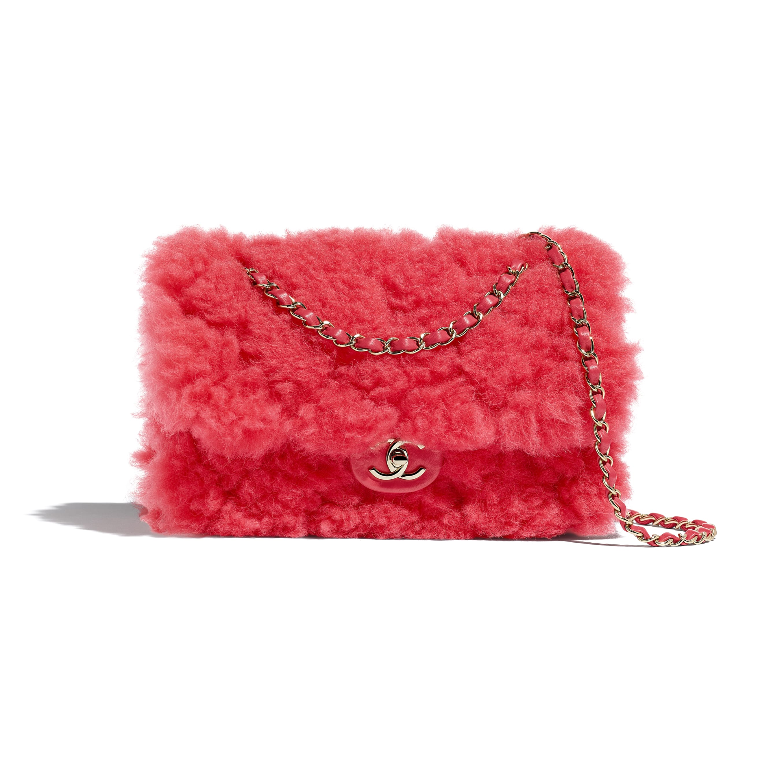 Flap Bag - Bright Red - Shearling Lambskin, Lambskin &Gold-Tone Metal - Default view - see standard sized version