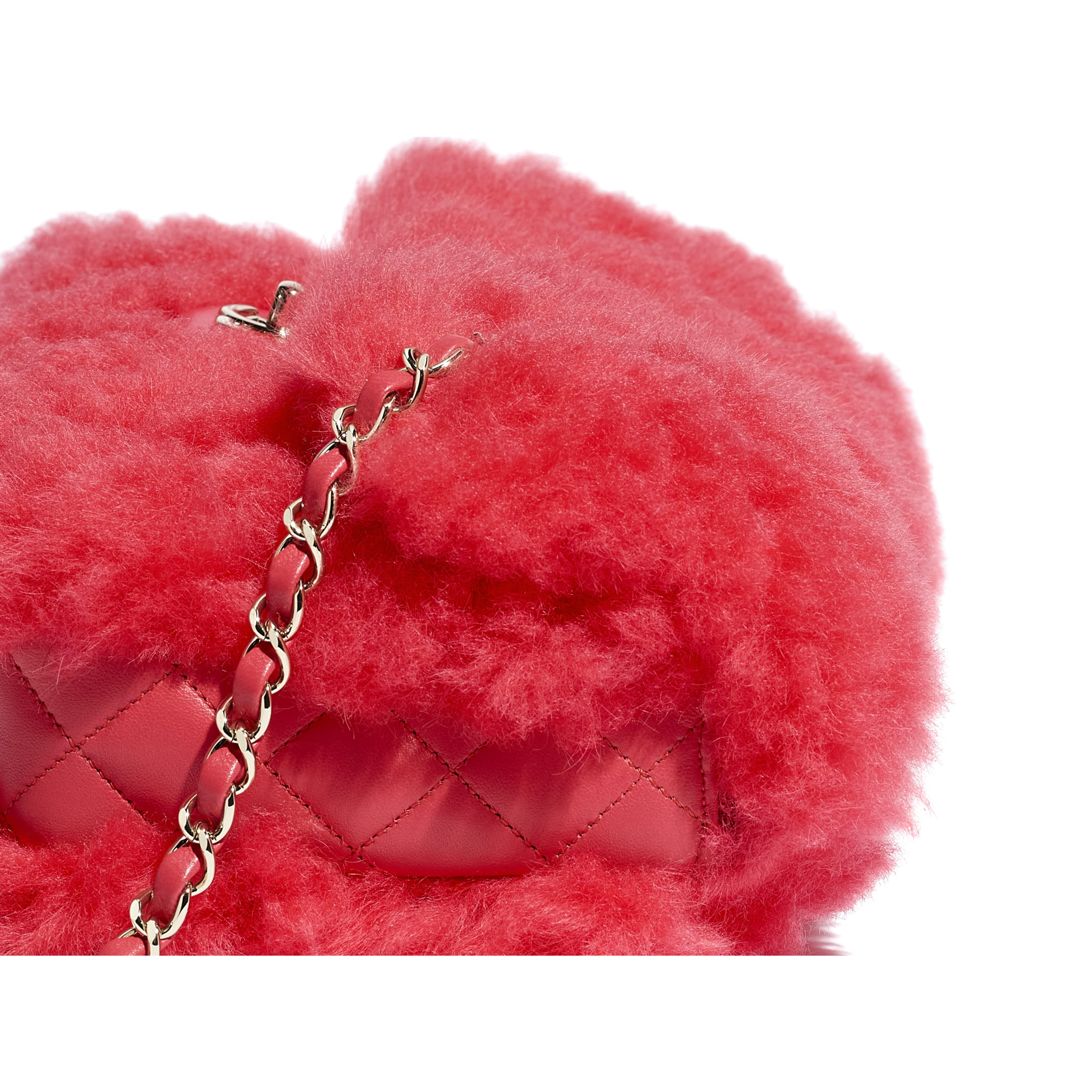 Flap Bag - Bright Red - Shearling Lambskin, Lambskin &Gold-Tone Metal - Extra view - see standard sized version