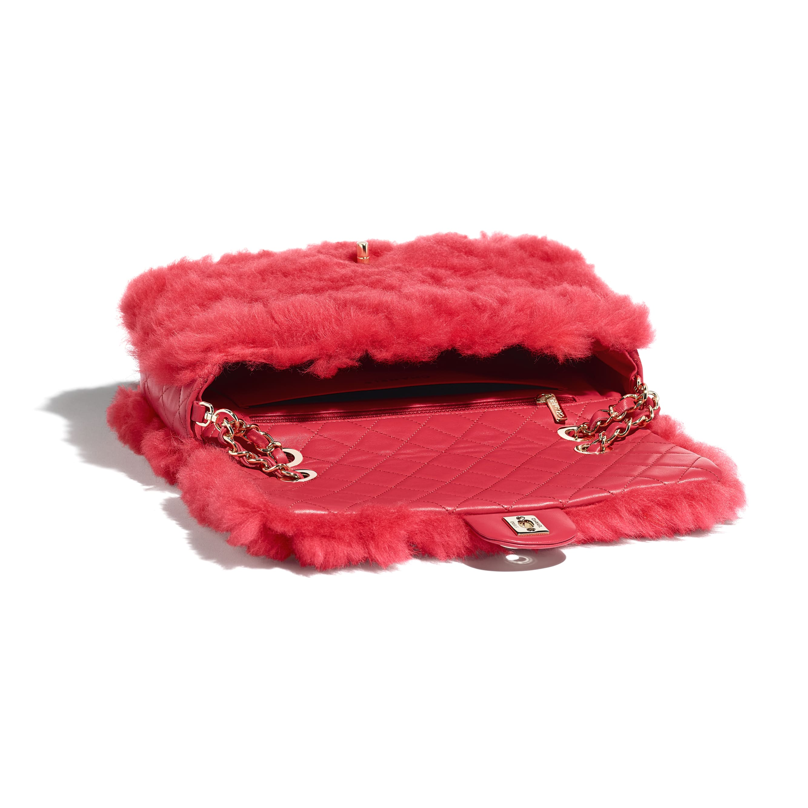 Flap Bag - Bright Red - Shearling Lambskin, Lambskin &Gold-Tone Metal - Other view - see standard sized version