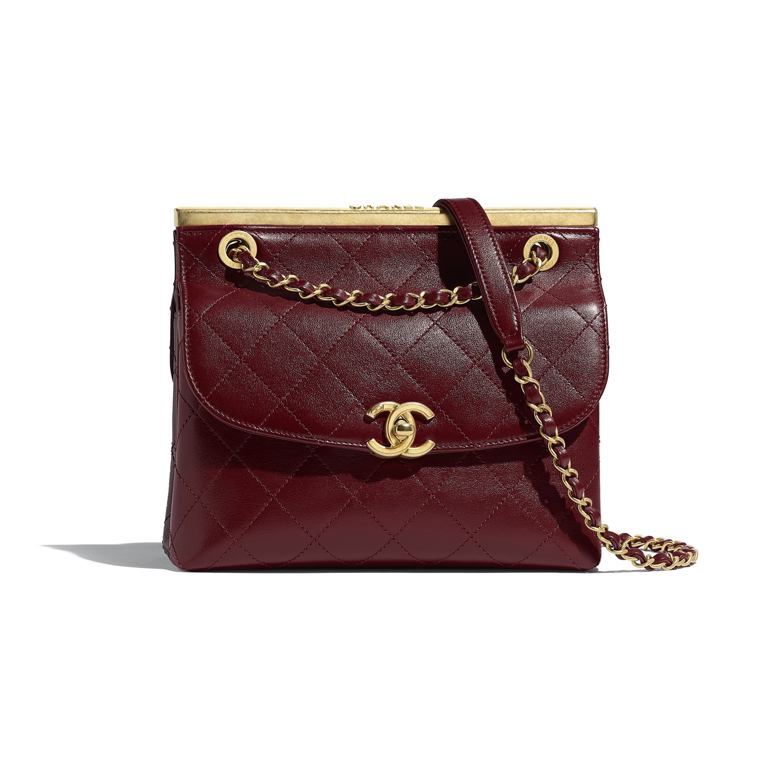 Flap Bag - Burgundy & Black - Lambskin - Default view - see standard sized version