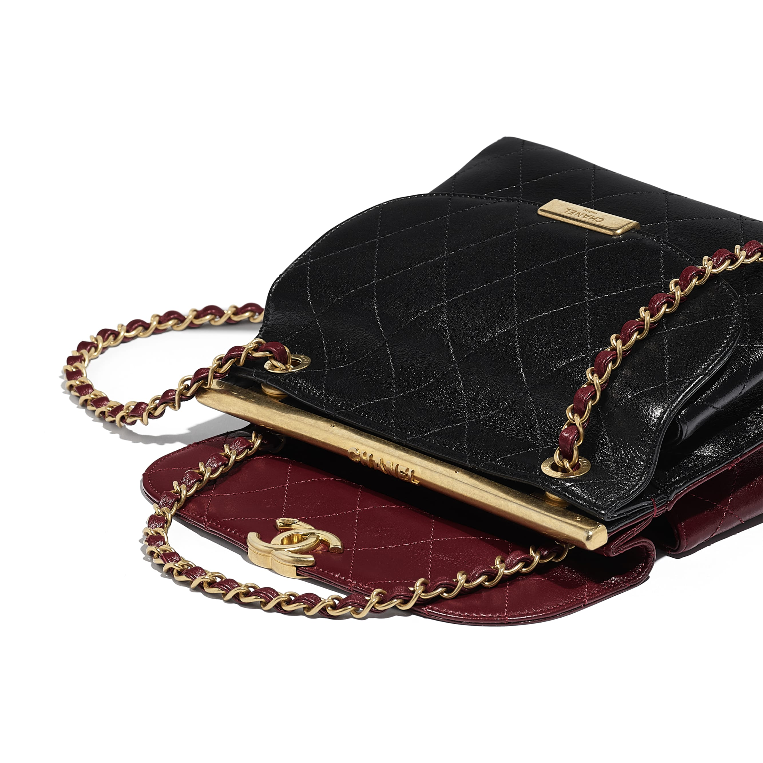 Flap Bag - Burgundy & Black - Lambskin - Extra view - see standard sized version