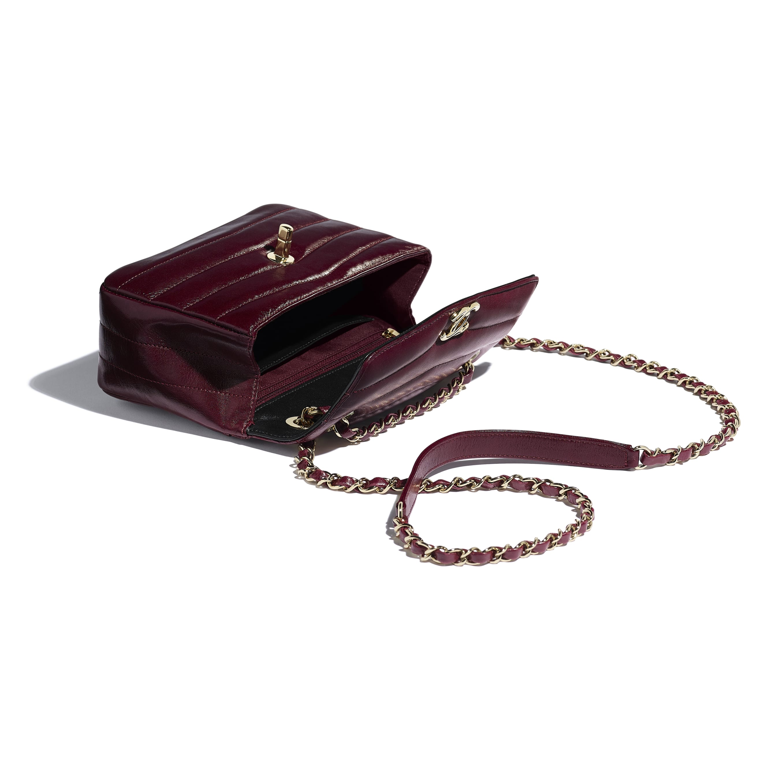 Flap Bag - Burgundy - Lambskin - Other view - see standard sized version