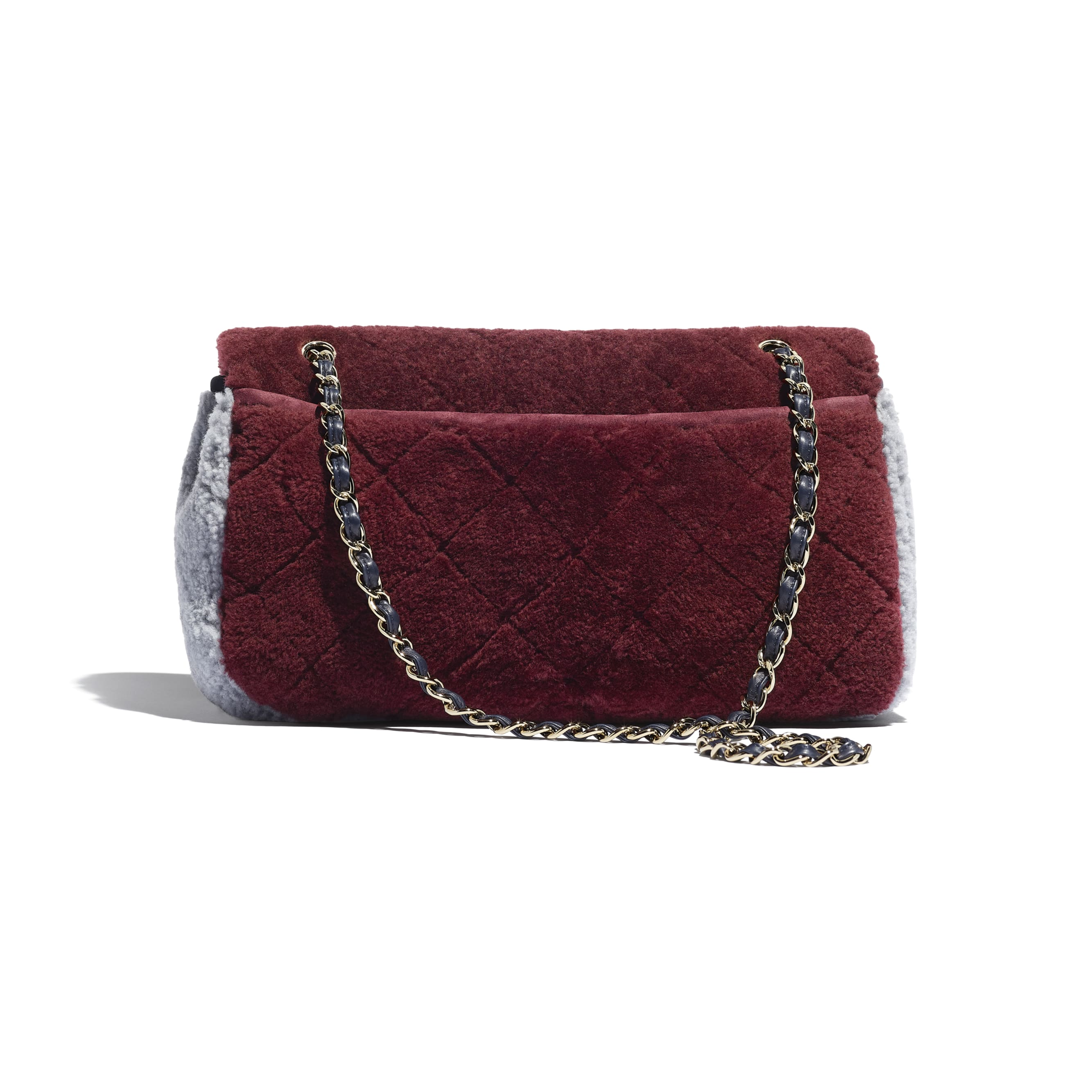Flap Bag - Burgundy, Navy Blue & Gray - Shearling Sheepskin & Gold-Tone Metal - Alternative view - see standard sized version