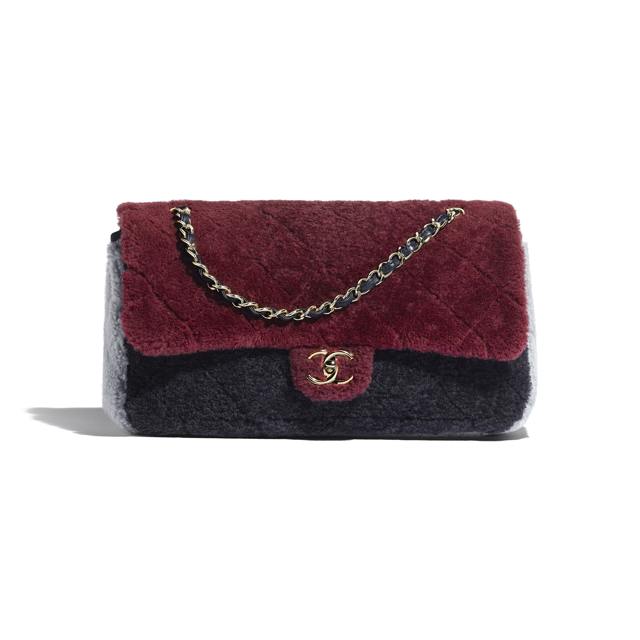 Flap Bag - Burgundy, Navy Blue & Gray - Shearling Sheepskin & Gold-Tone Metal - Default view - see standard sized version