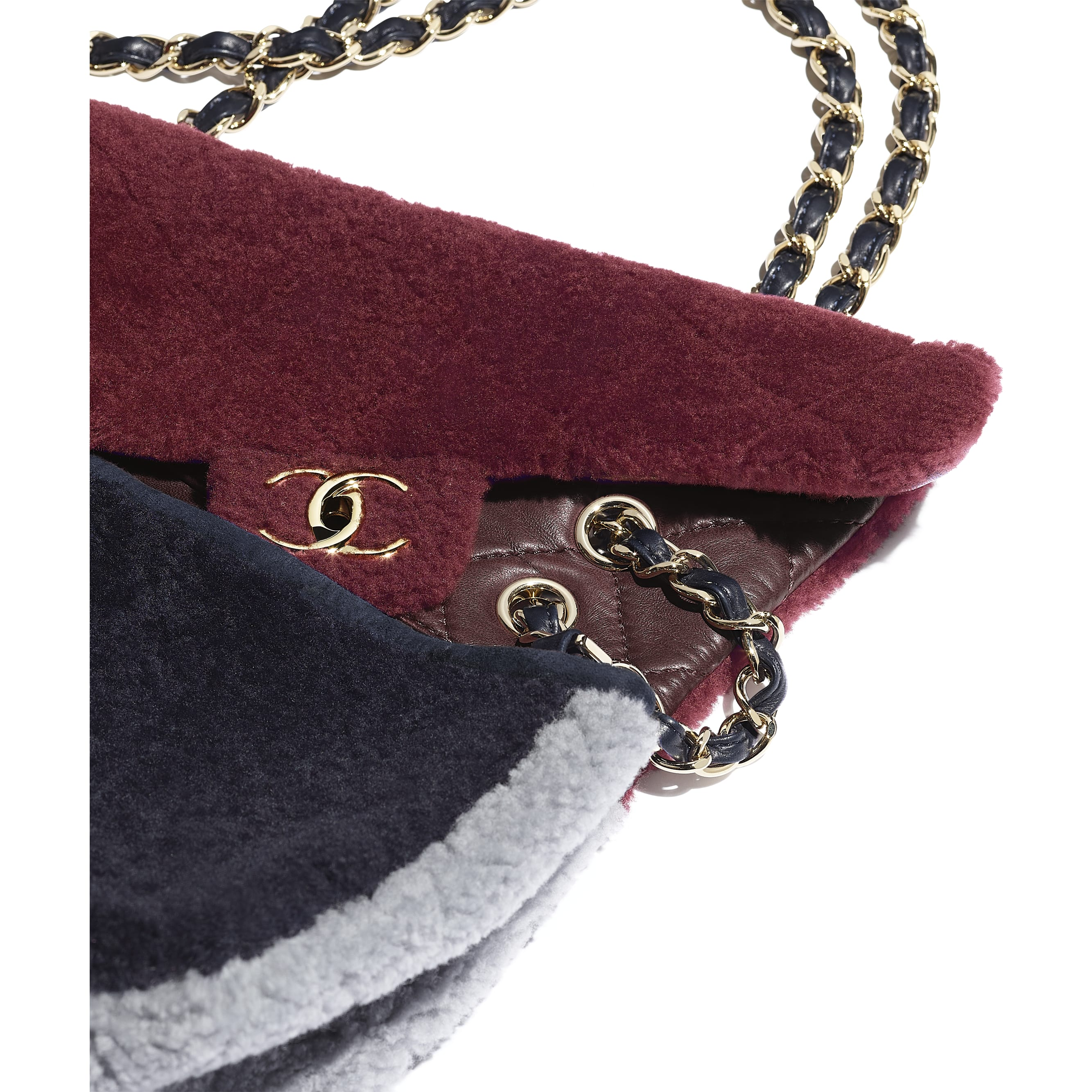 Flap Bag - Burgundy, Navy Blue & Gray - Shearling Sheepskin & Gold-Tone Metal - Extra view - see standard sized version