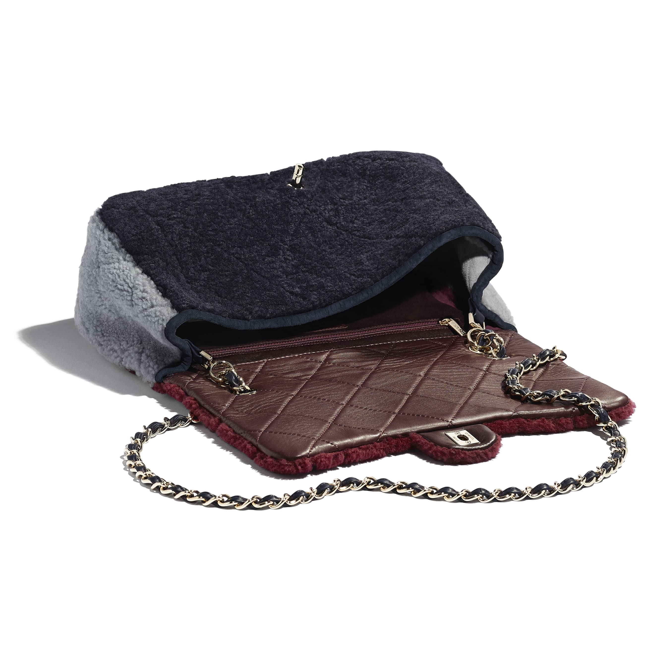 Flap Bag - Burgundy, Navy Blue & Gray - Shearling Sheepskin & Gold-Tone Metal - Other view - see standard sized version