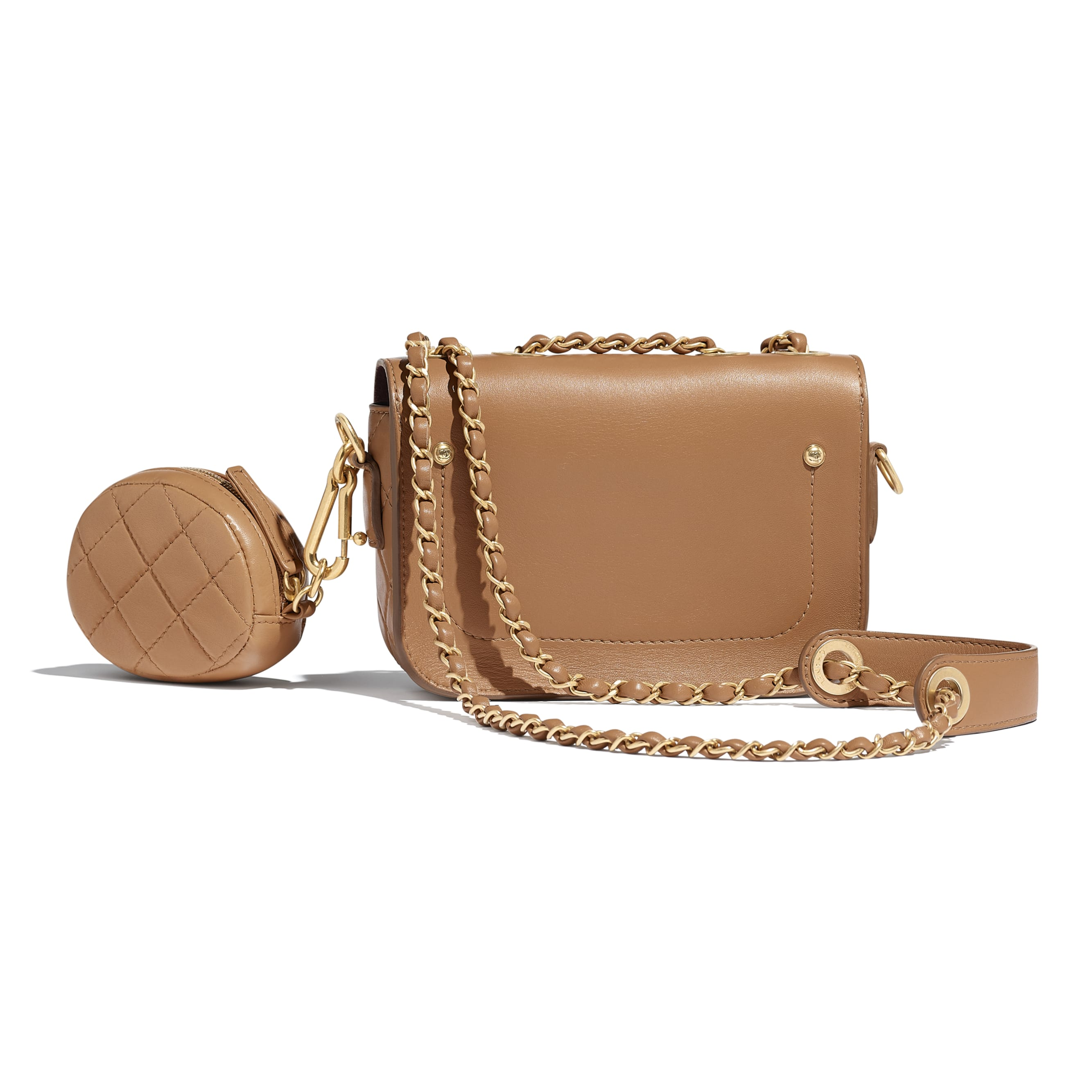 Flap Bag & Coin Purse - Beige - Calfskin & Gold-Tone Metal - Alternative view - see standard sized version