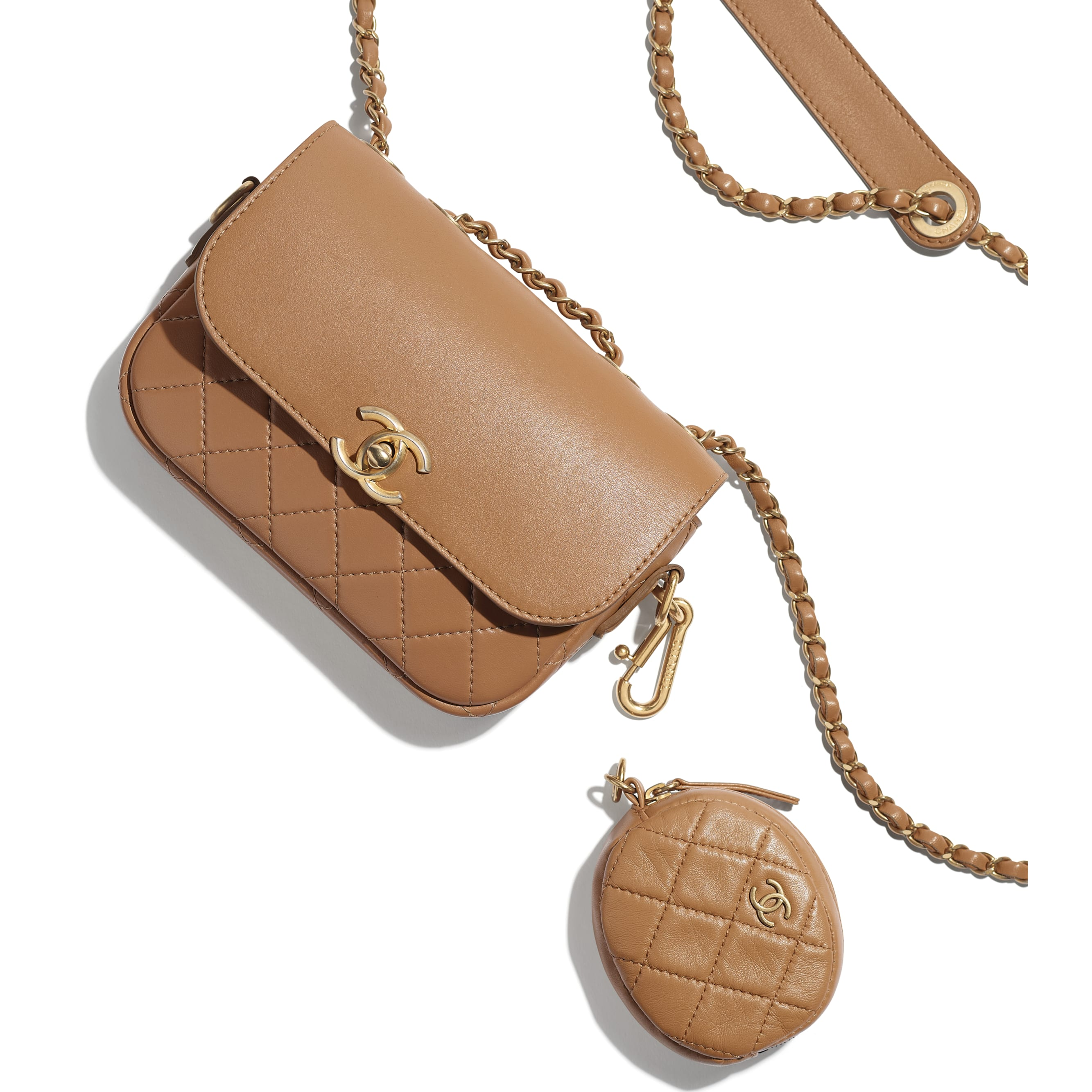 Flap Bag & Coin Purse - Beige - Calfskin & Gold-Tone Metal - Extra view - see standard sized version