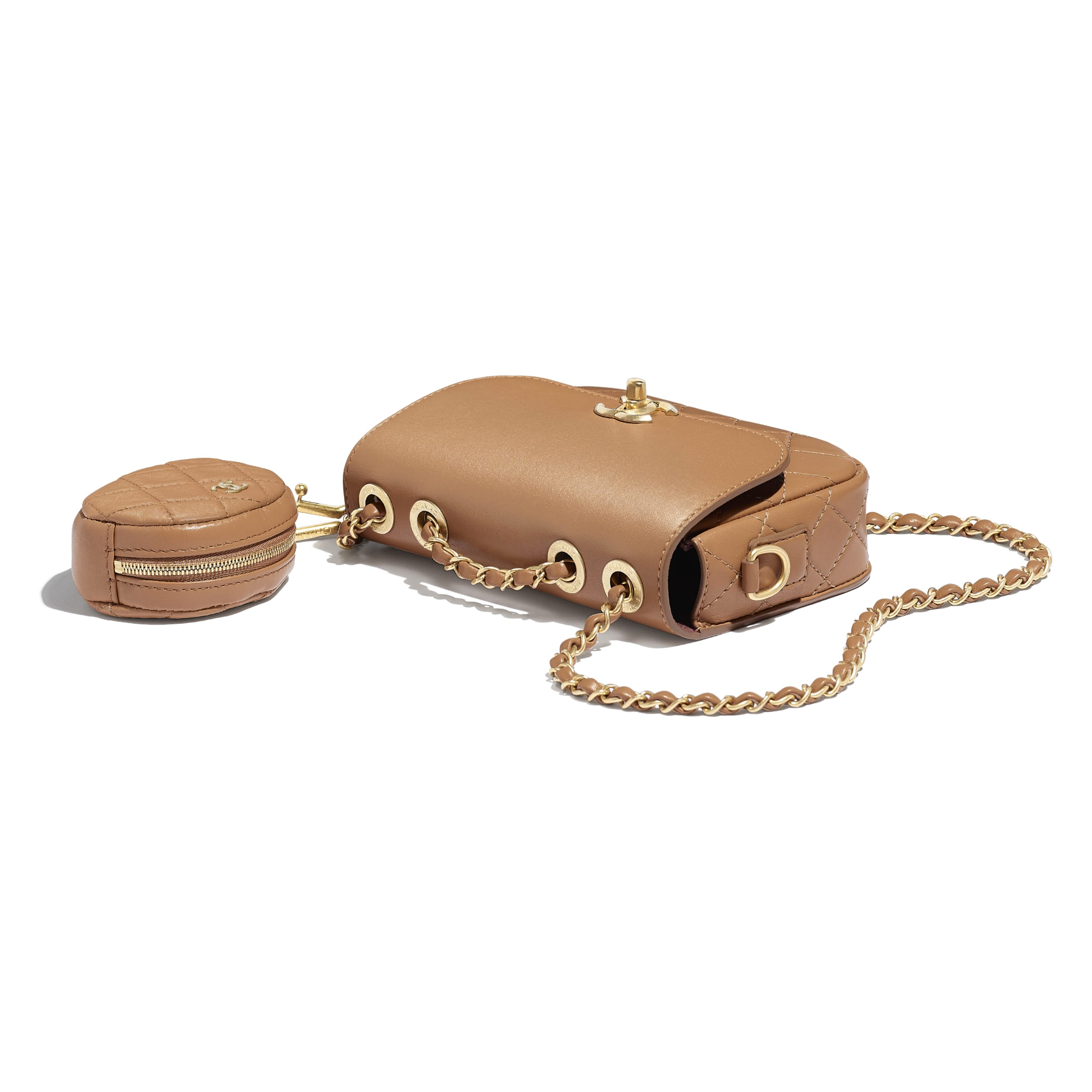 Flap Bag & Coin Purse - Beige - Calfskin & Gold-Tone Metal - Other view - see standard sized version