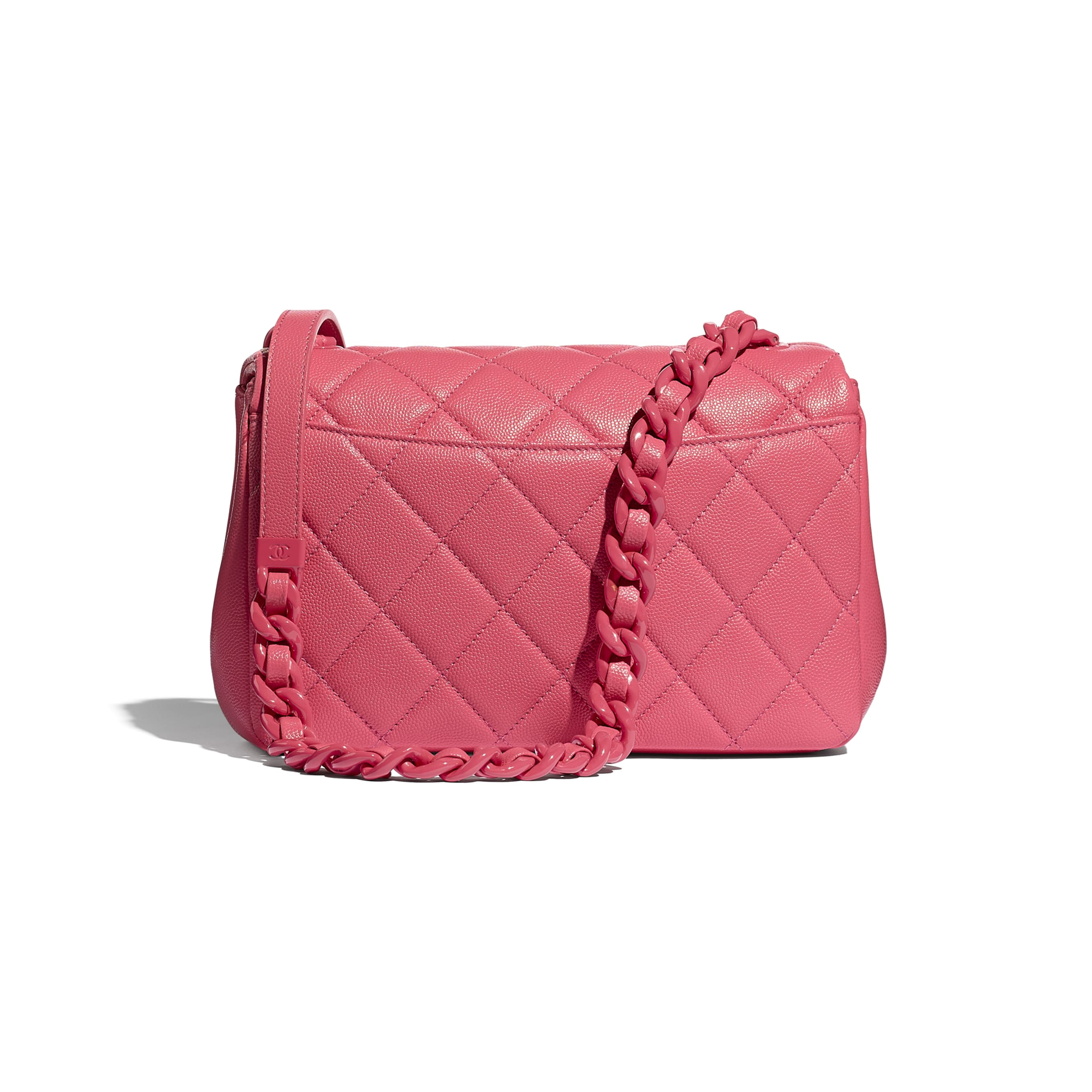 Flap Bag - Coral - Grained Calfskin & Lacquered Metal - CHANEL - Alternative view - see standard sized version