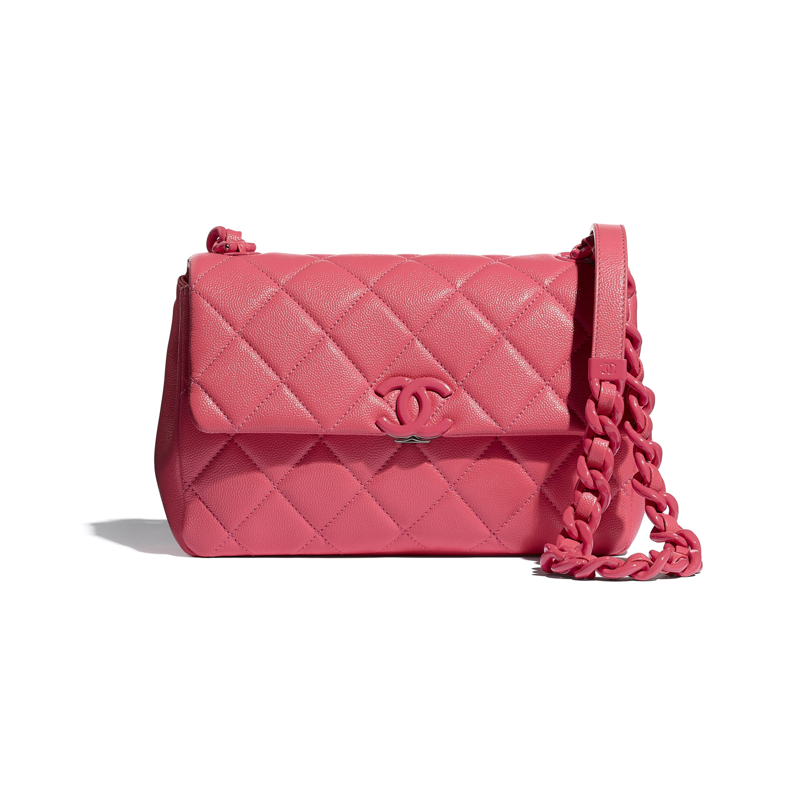 Flap Bag - Coral - Grained Calfskin & Lacquered Metal - CHANEL - Default view - see standard sized version